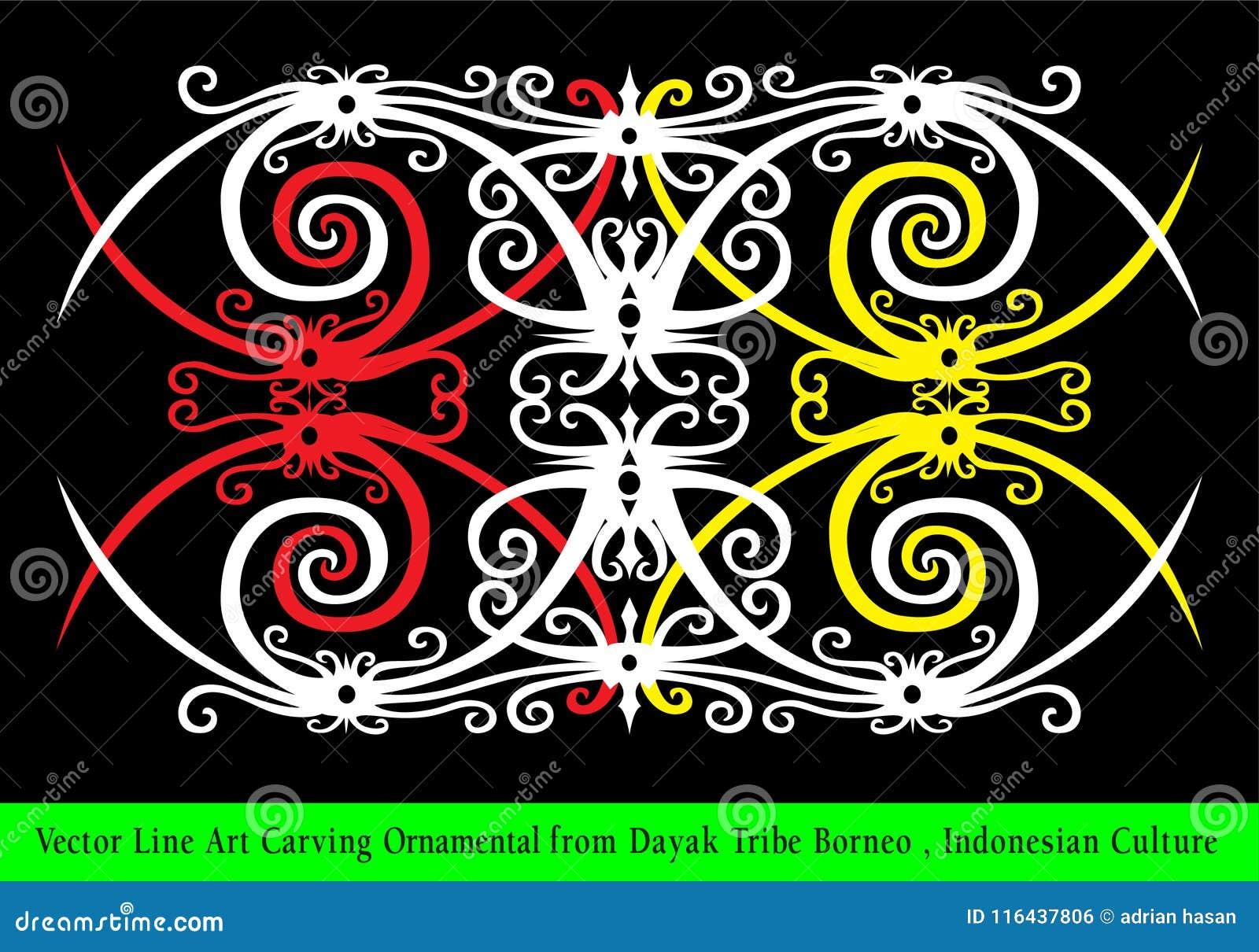 Línea Art Carving Ornamental del vector de la tribu Borneo, cultura indonesia del Dayak
