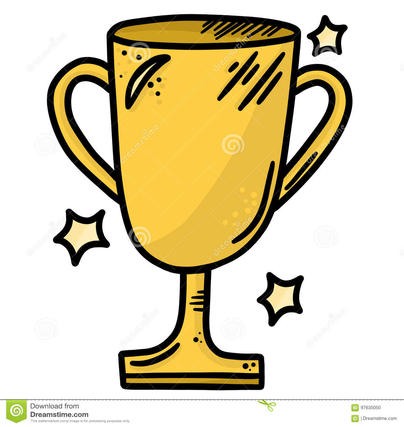 Línea Art Vector Illustration Clip Art del trofeo del oro