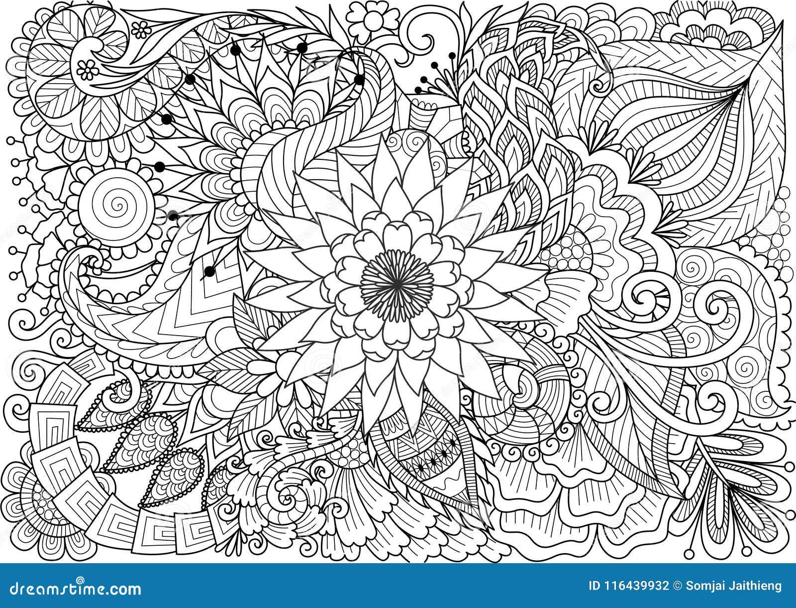 Línea Arte De Flores Hermosas Para El Fondo Y La Página Del