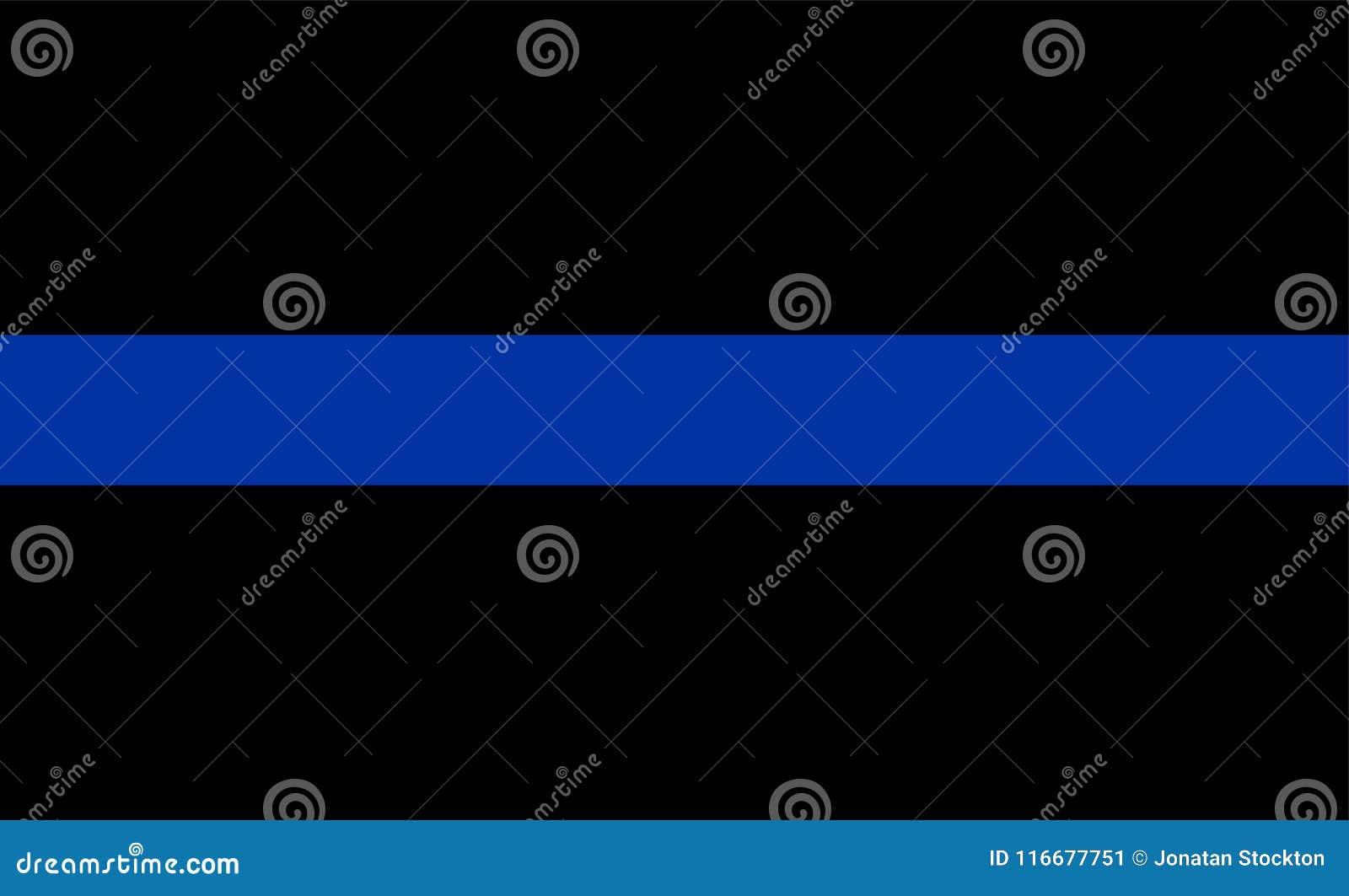 Línea azul fina símbolo de la aplicación de ley de la bandera La policía americana señala por medio de una bandera Símbolo de rec