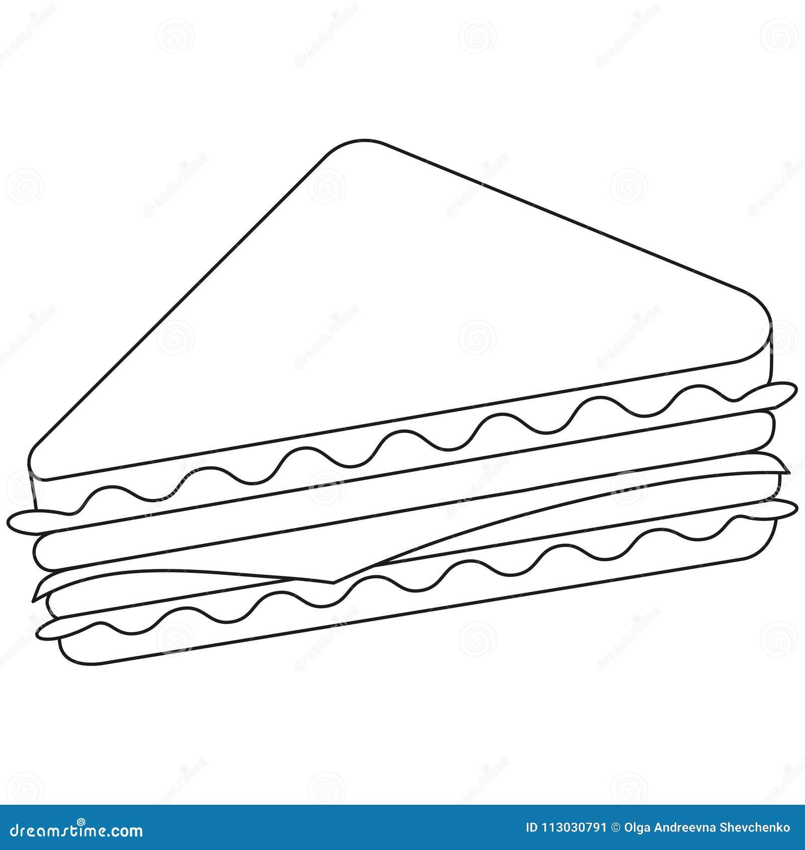 Línea blanco y negro alimentos de preparación rápida del bocadillo del arte