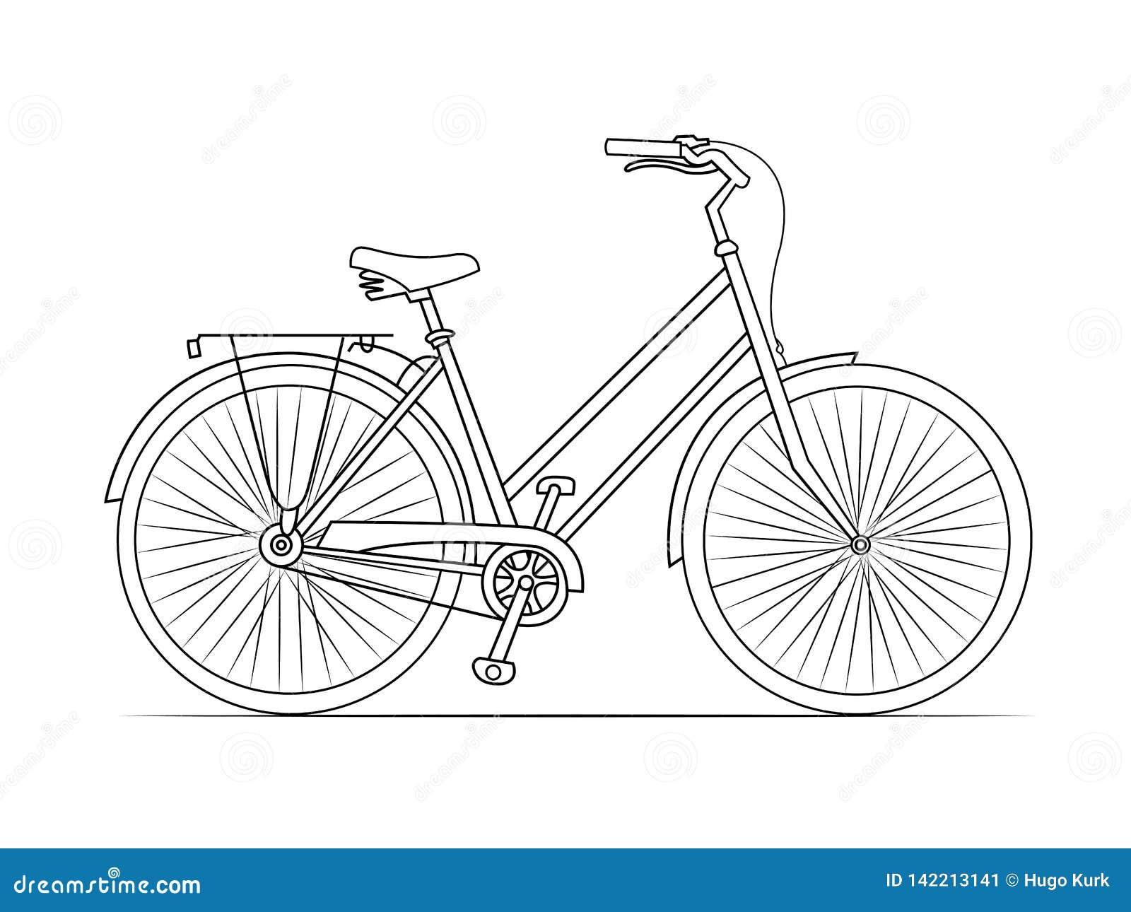Línea bosquejo de la bicicleta