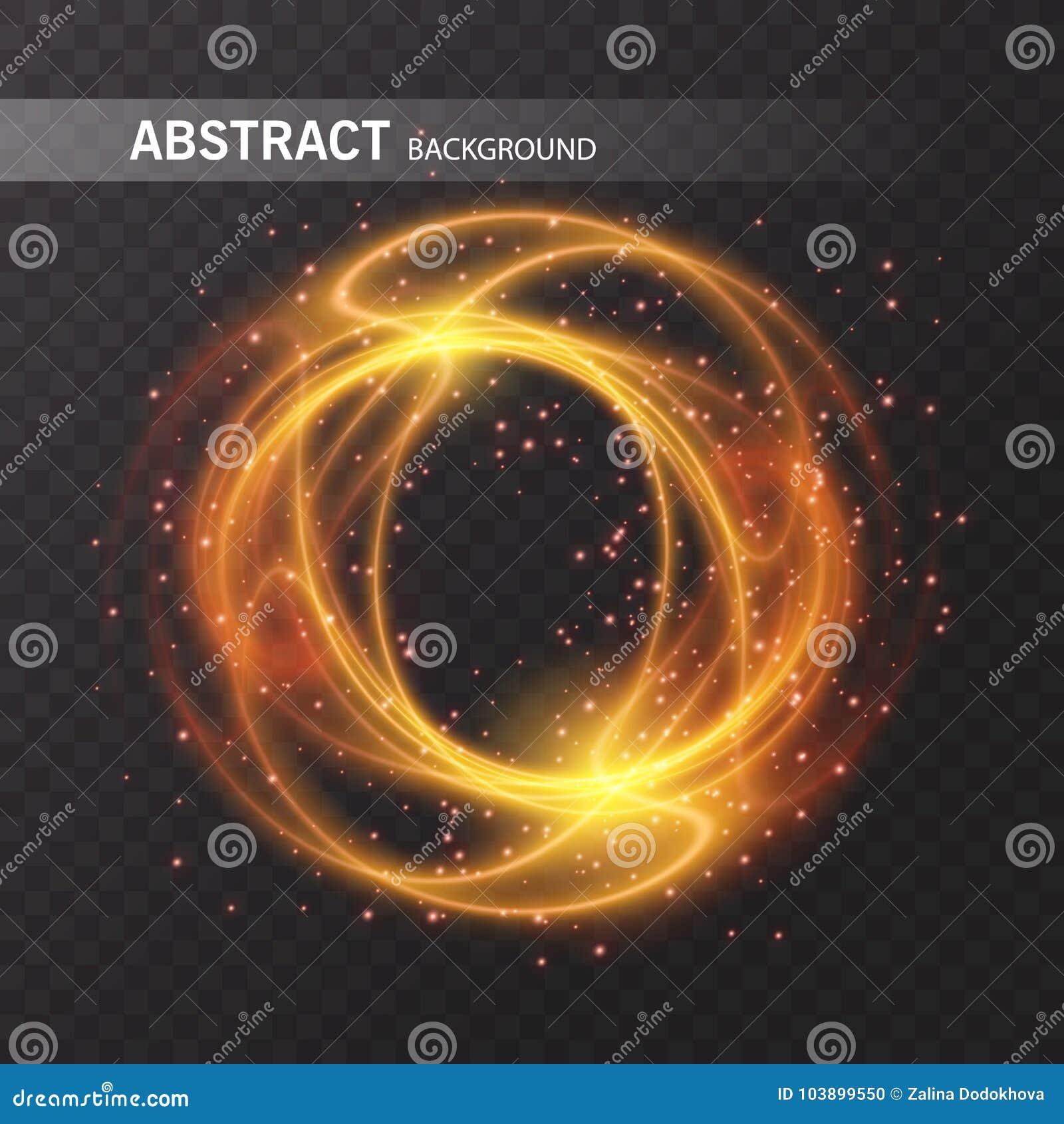 Línea círculo del efecto luminoso del vector del oro Rastro ligero del anillo del fuego que brilla intensamente Efecto mágico del