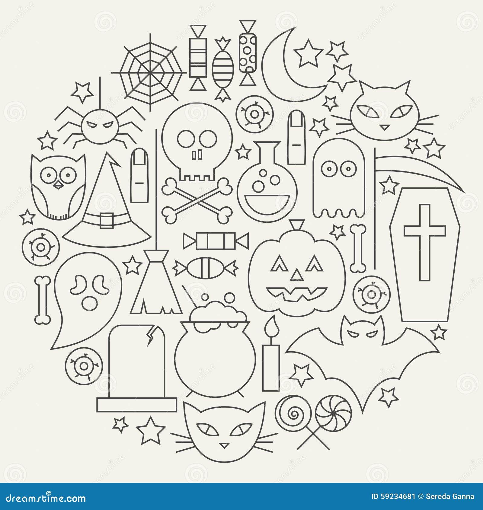 Línea circular fijada iconos del día de fiesta de Halloween formada