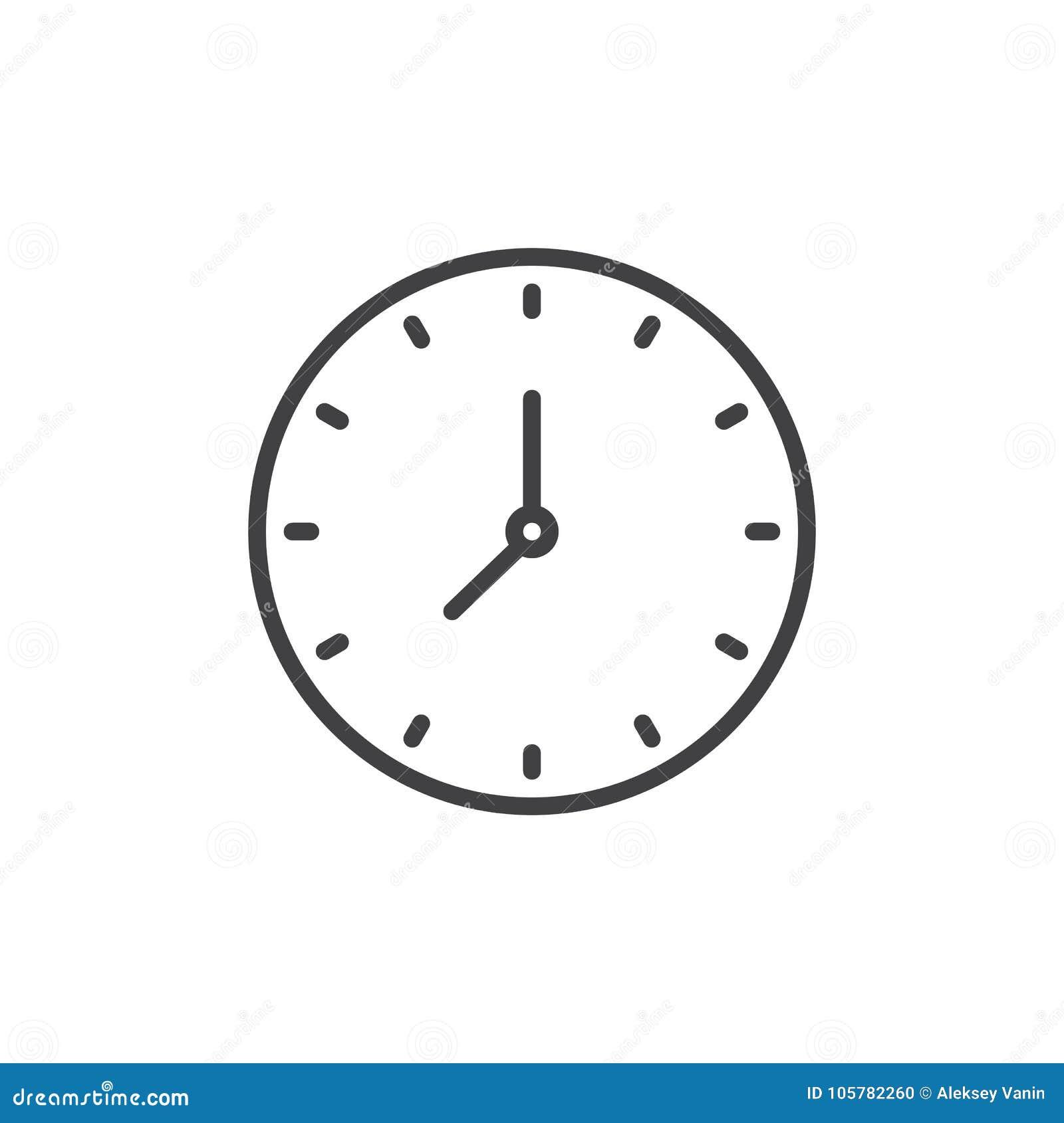 01c9f84c543e Línea Circular Icono Del Reloj De Pared Ilustración del Vector ...