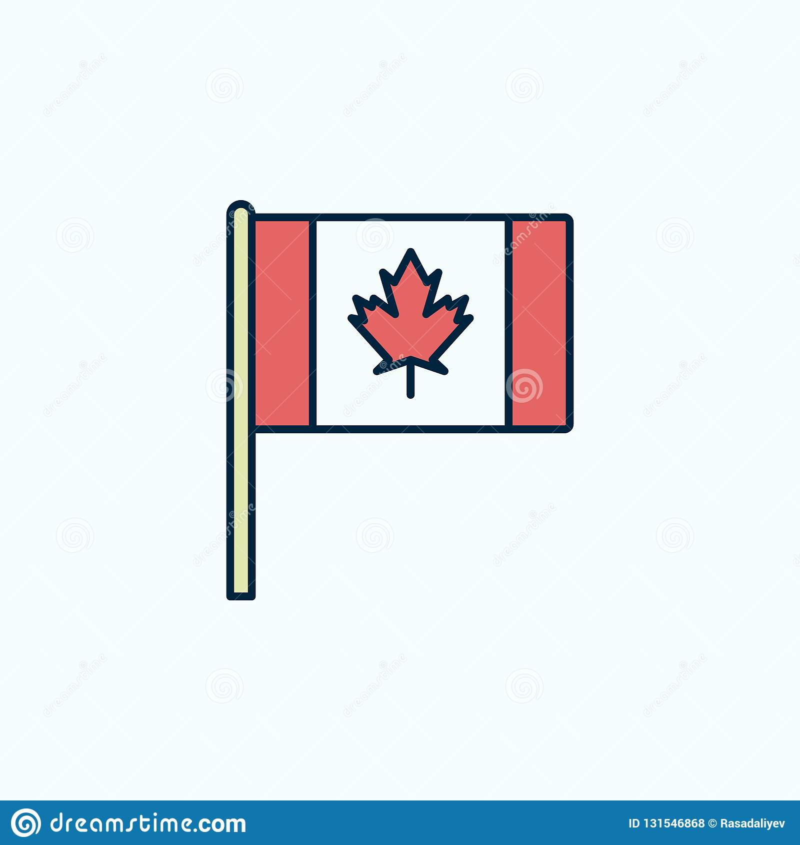 Línea Coloreada Icono De La Bandera 2 De Canadá Ejemplo