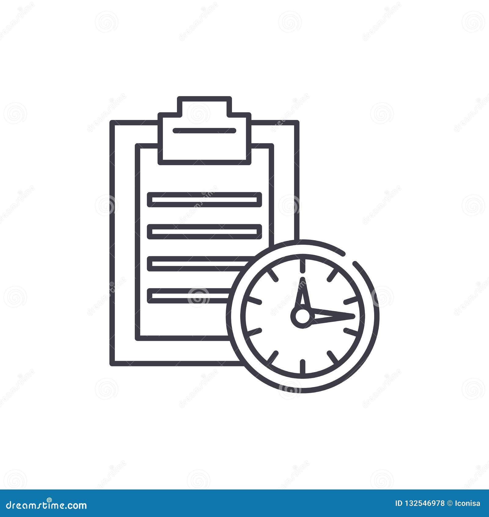 Línea concepto del límite de tiempo del icono Ejemplo linear del vector del límite de tiempo, símbolo, muestra