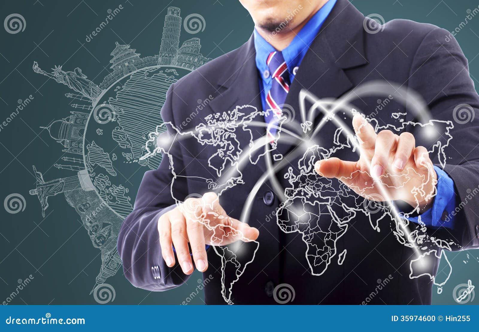 Línea conmovedora viajero de la red del hombre de negocios