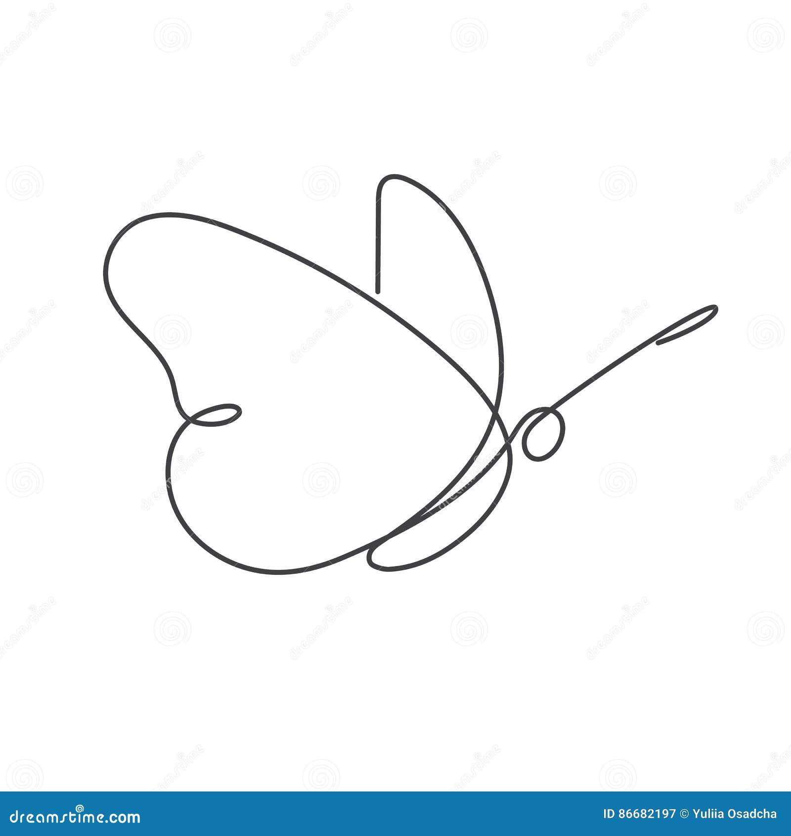 C Drawing Smooth Lines : Línea continua dibujo lineal del blanco uno de la mariposa