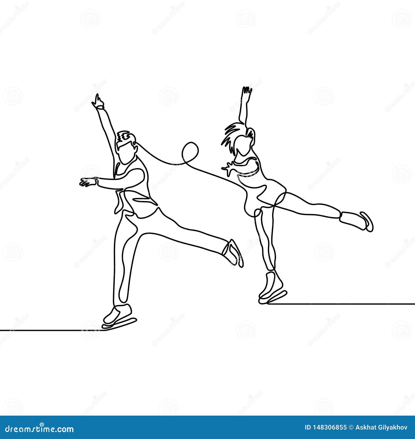 Línea continua par de figura patinadores, patinaje artístico los pares