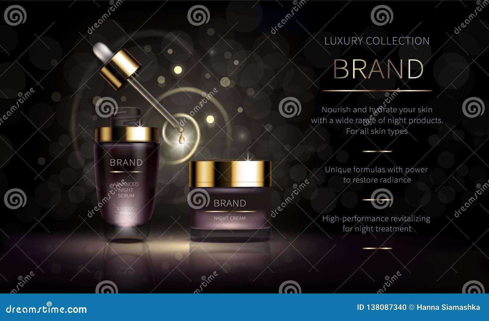 Línea cosmética de la noche para la piel de la cara