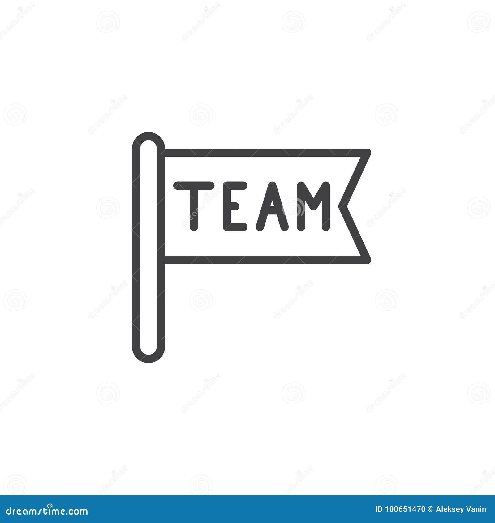 Línea de bandera del equipo icono