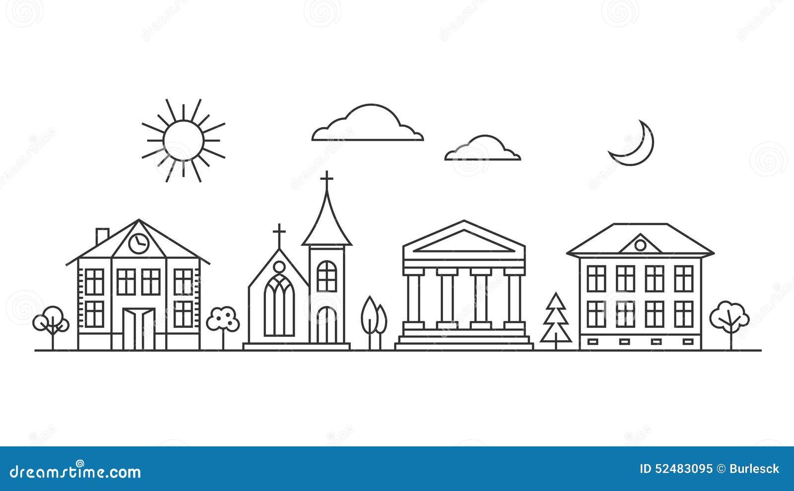 Línea de ciudad del vector paisaje