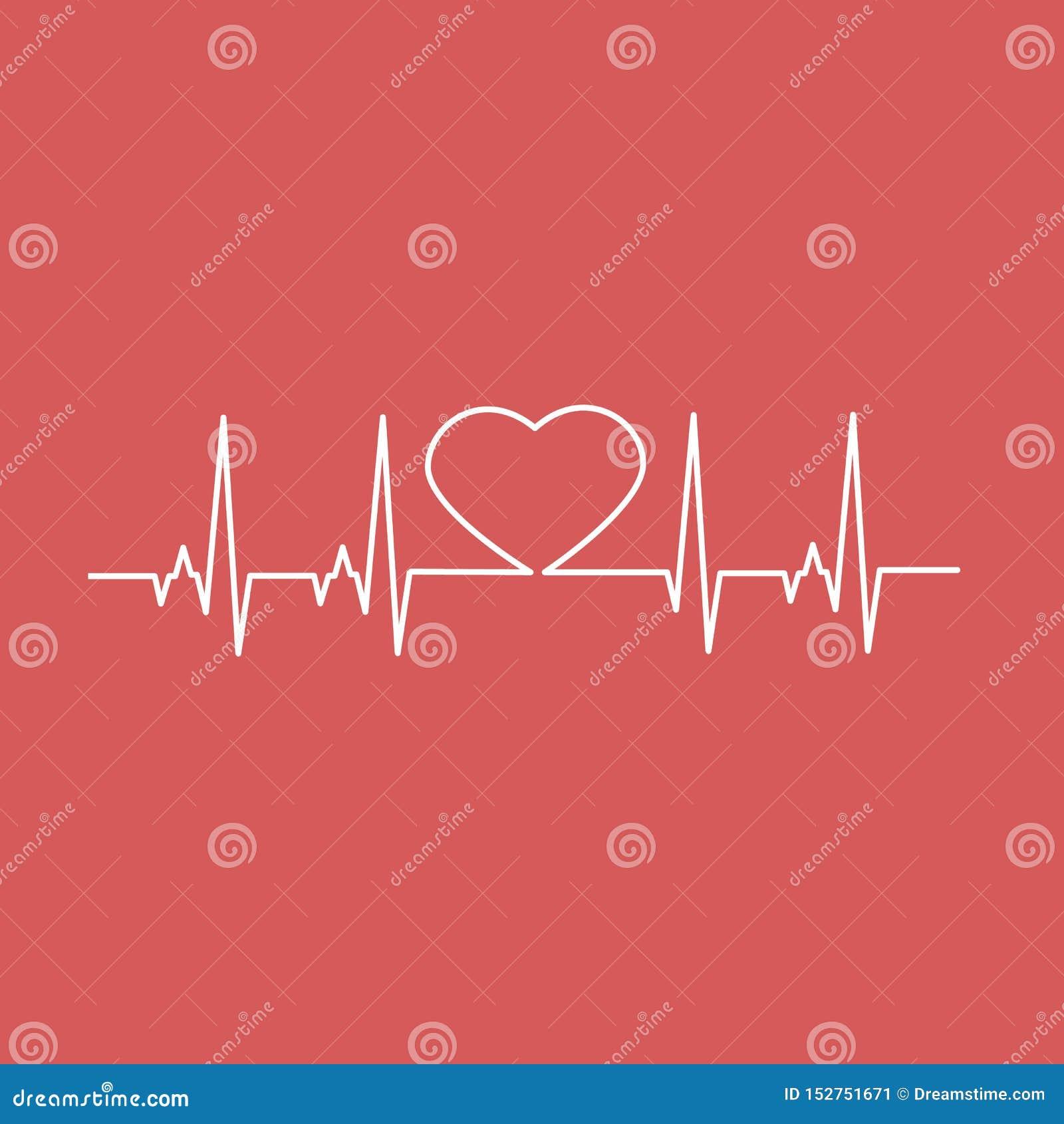 Línea de corazón cardiia del latido del corazón Ilustraci?n del vector
