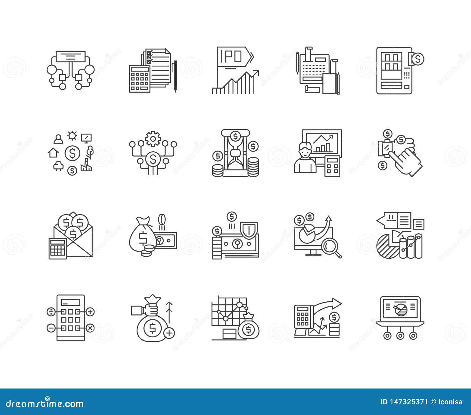 Línea de datos financieros iconos, muestras, sistema del vector, concepto del ejemplo del esquema