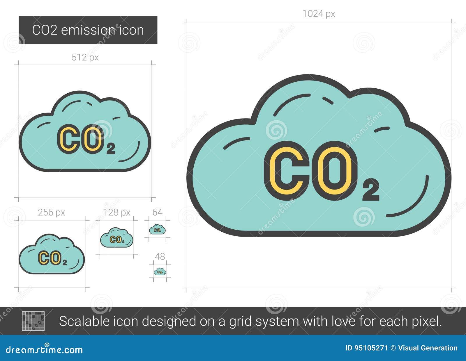 Línea de emisión de CO2 icono