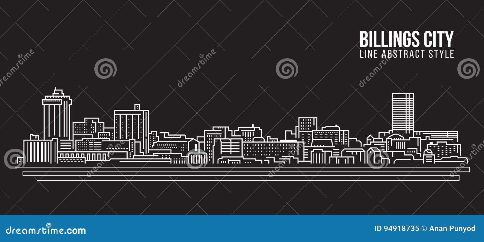 Línea de fachada del paisaje urbano diseño del ejemplo del vector del arte - ciudad de las facturaciones