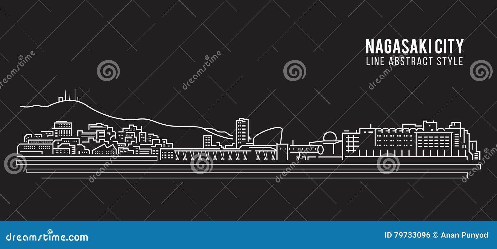 Línea de fachada del paisaje urbano diseño del ejemplo del vector del arte - ciudad de Nagasaki