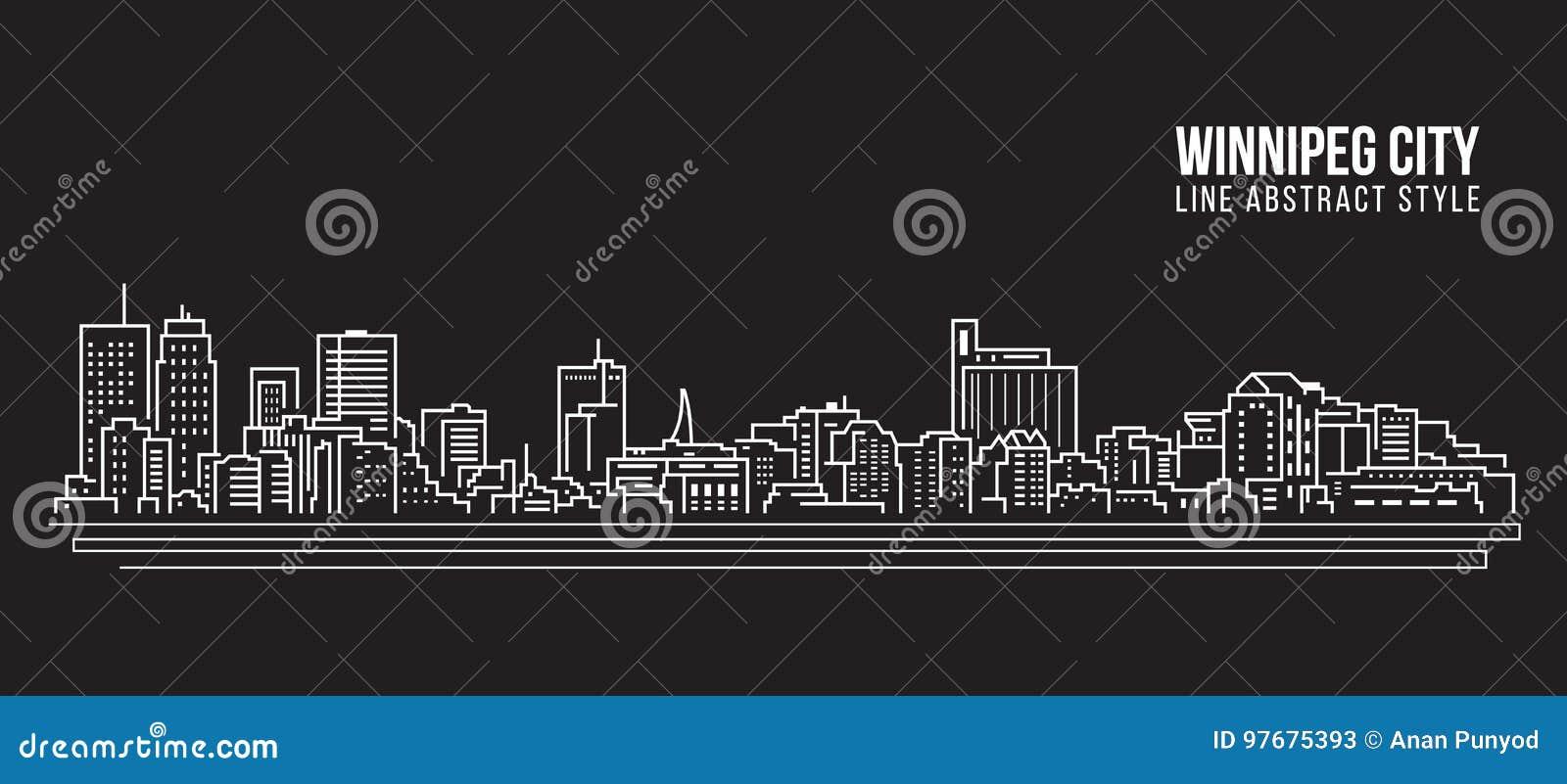 Línea de fachada del paisaje urbano diseño del ejemplo del vector del arte - ciudad de Winnipeg