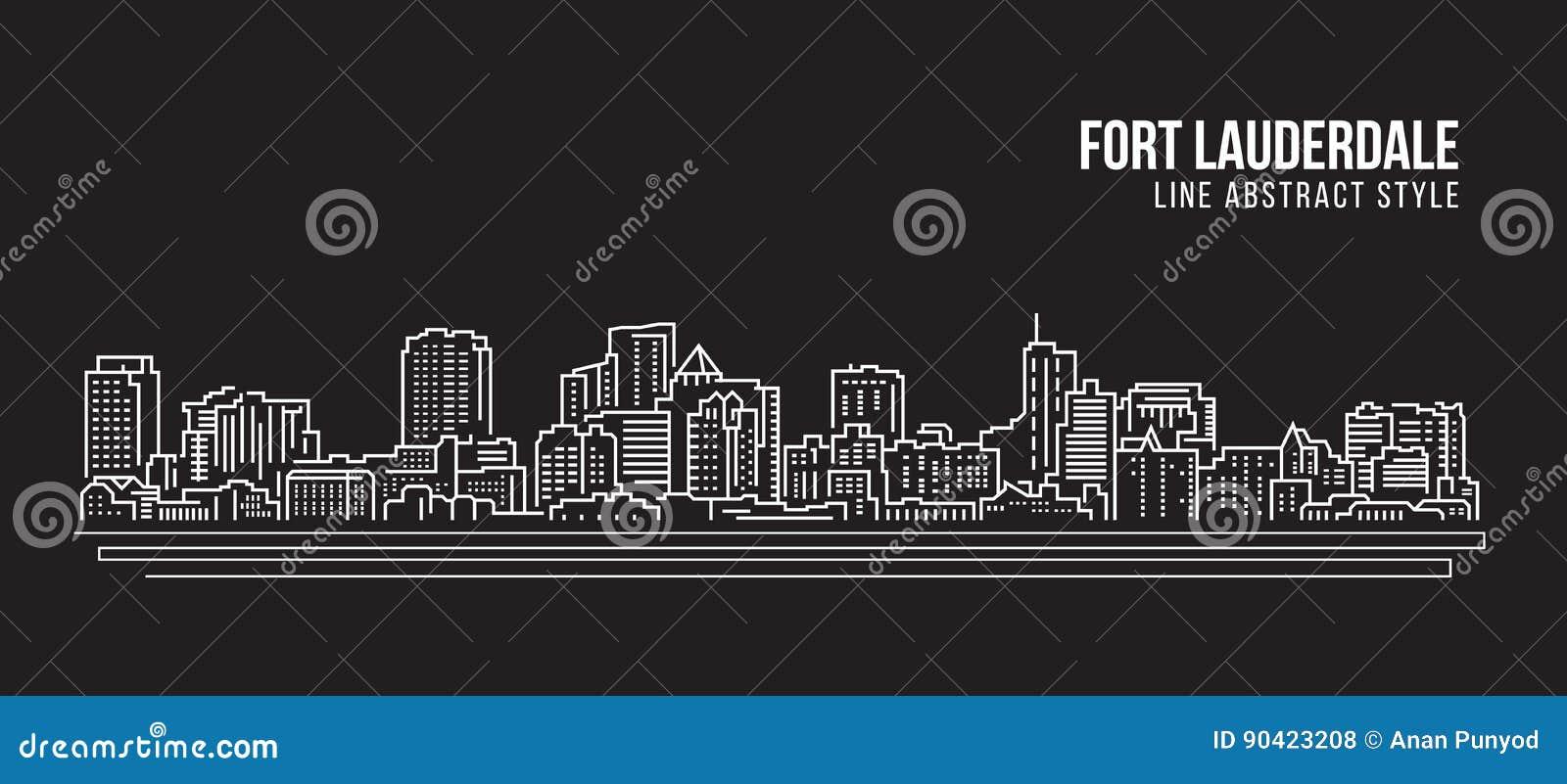 Línea de fachada del paisaje urbano diseño del ejemplo del vector del arte - ciudad del Fort Lauderdale