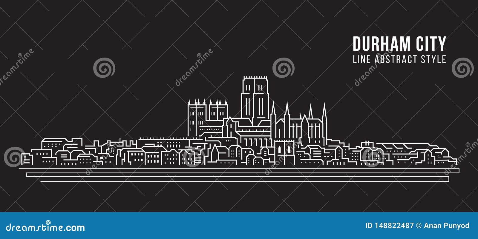 Línea de fachada del paisaje urbano diseño del ejemplo del vector del arte - ciudad de Durham, Reino Unido