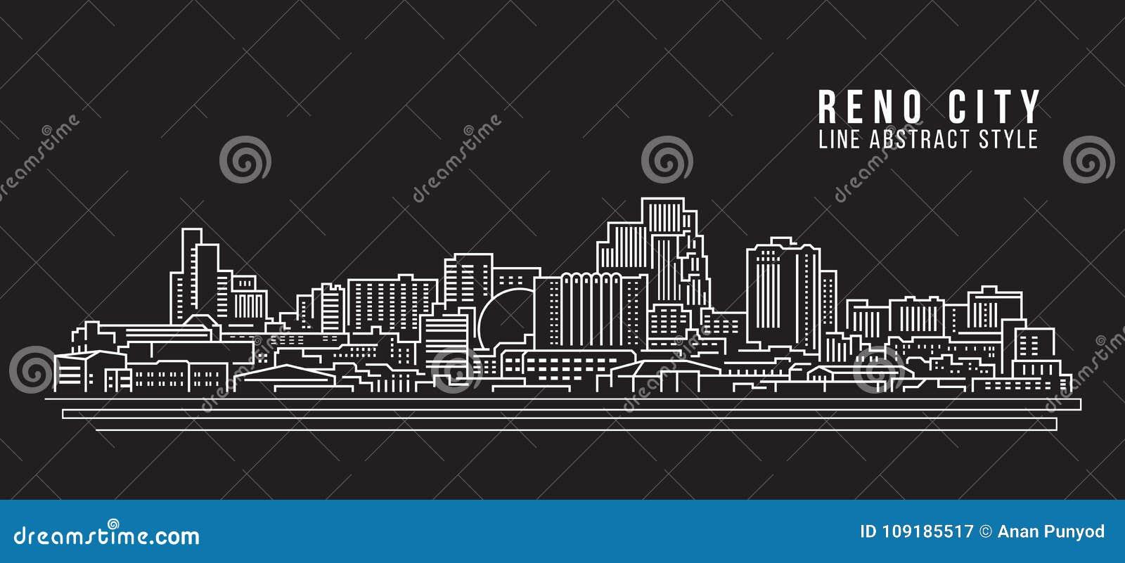 Línea de fachada del paisaje urbano diseño del ejemplo del vector del arte - ciudad de Reno