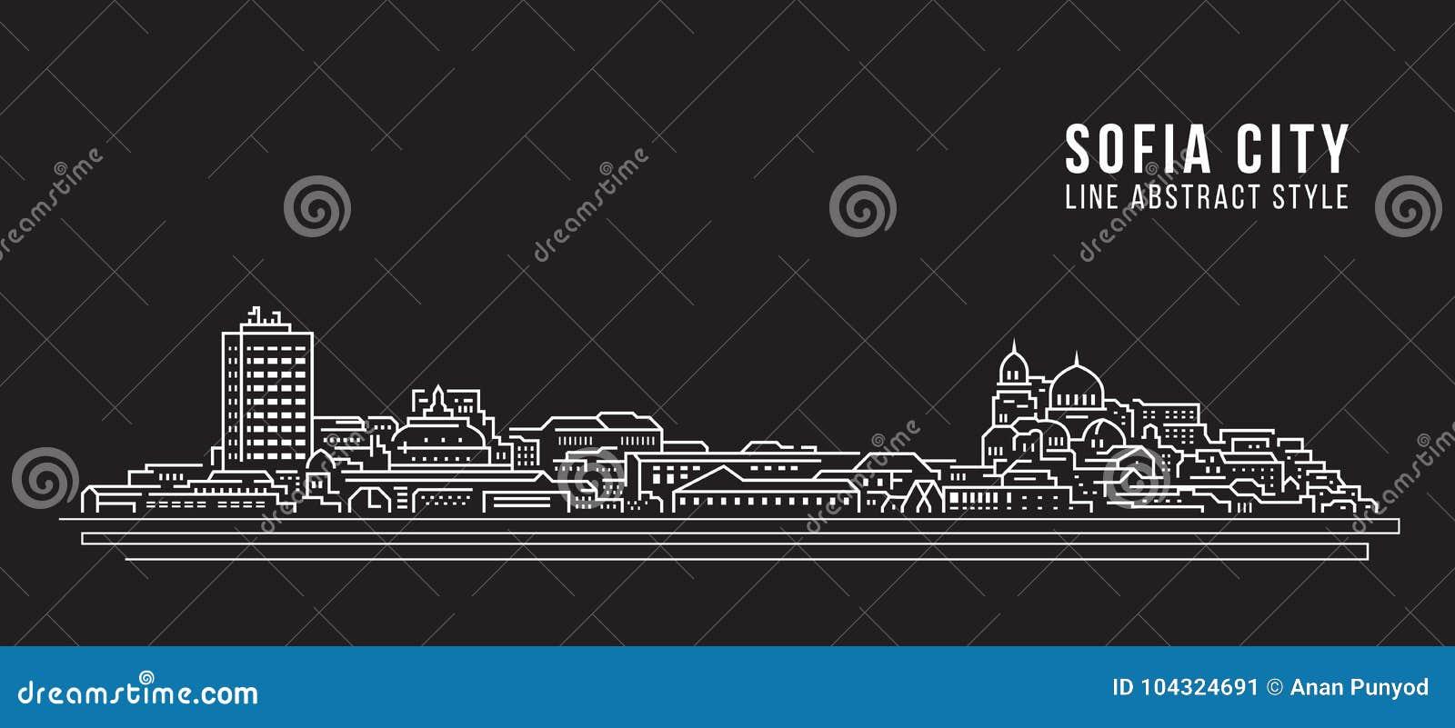 Línea de fachada del paisaje urbano diseño del ejemplo del vector del arte - ciudad de Sofía