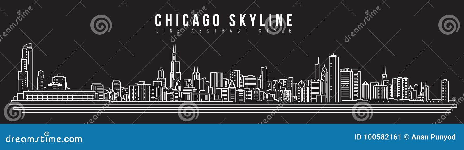 Línea de fachada del paisaje urbano diseño del ejemplo del vector del arte - horizonte de Chicago