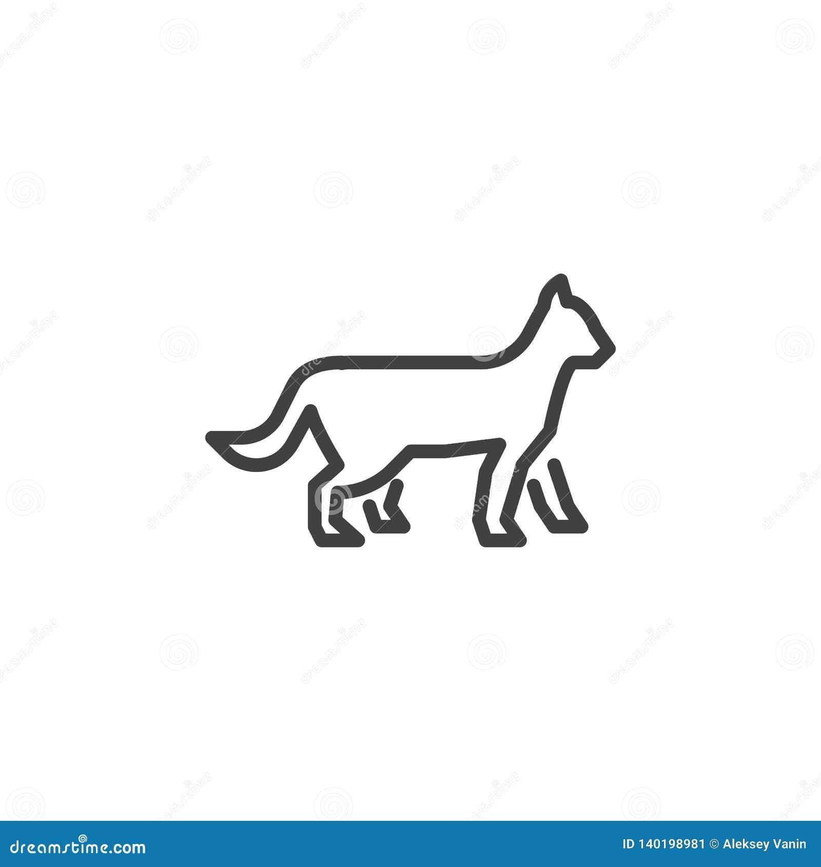 Línea de gato que camina icono