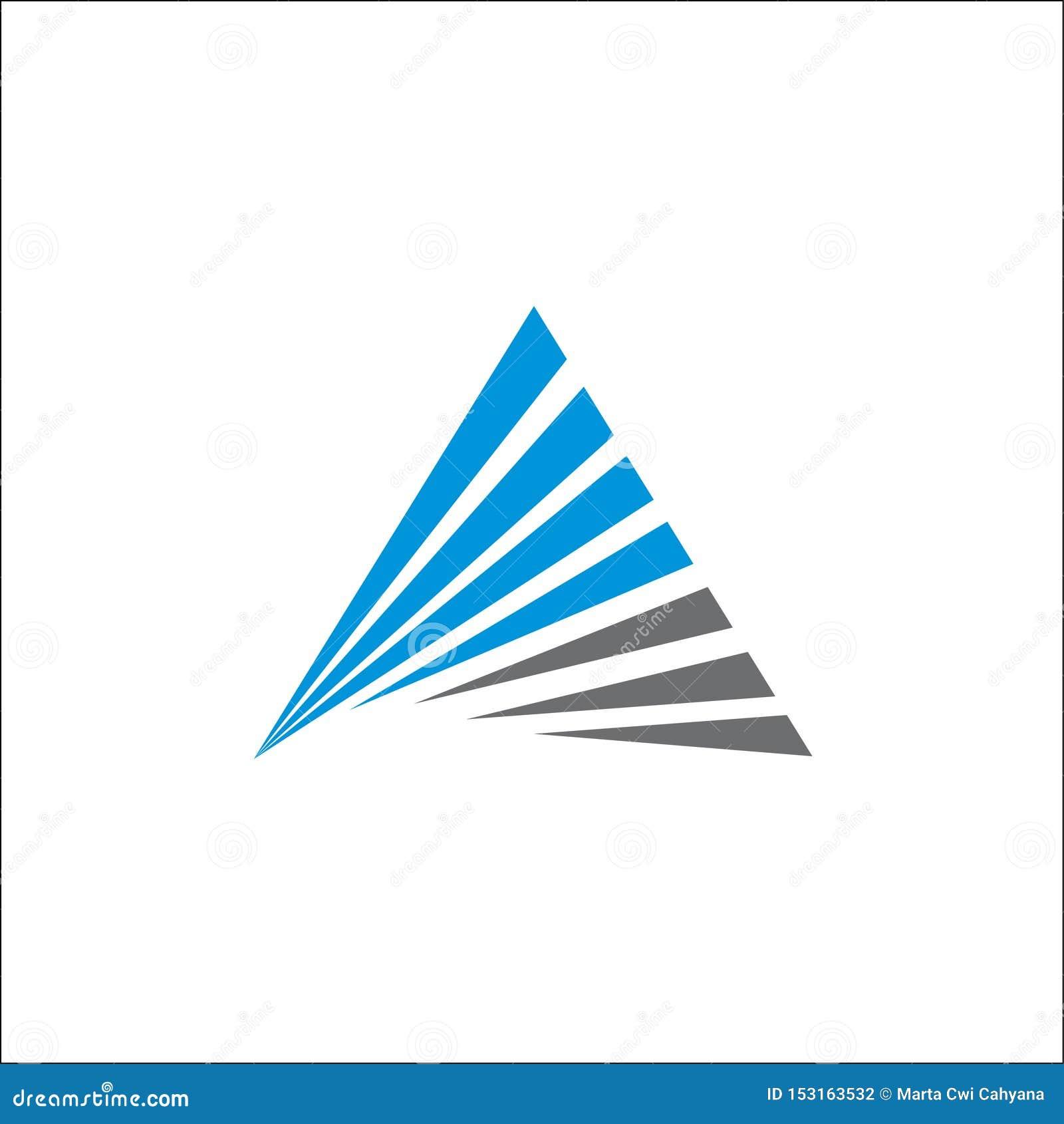 Línea de iniciales del extracto A del vector del logotipo del triángulo plantilla