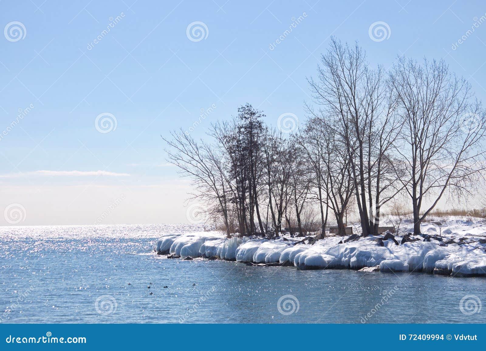 lnea de la playa congelada el lago ontario