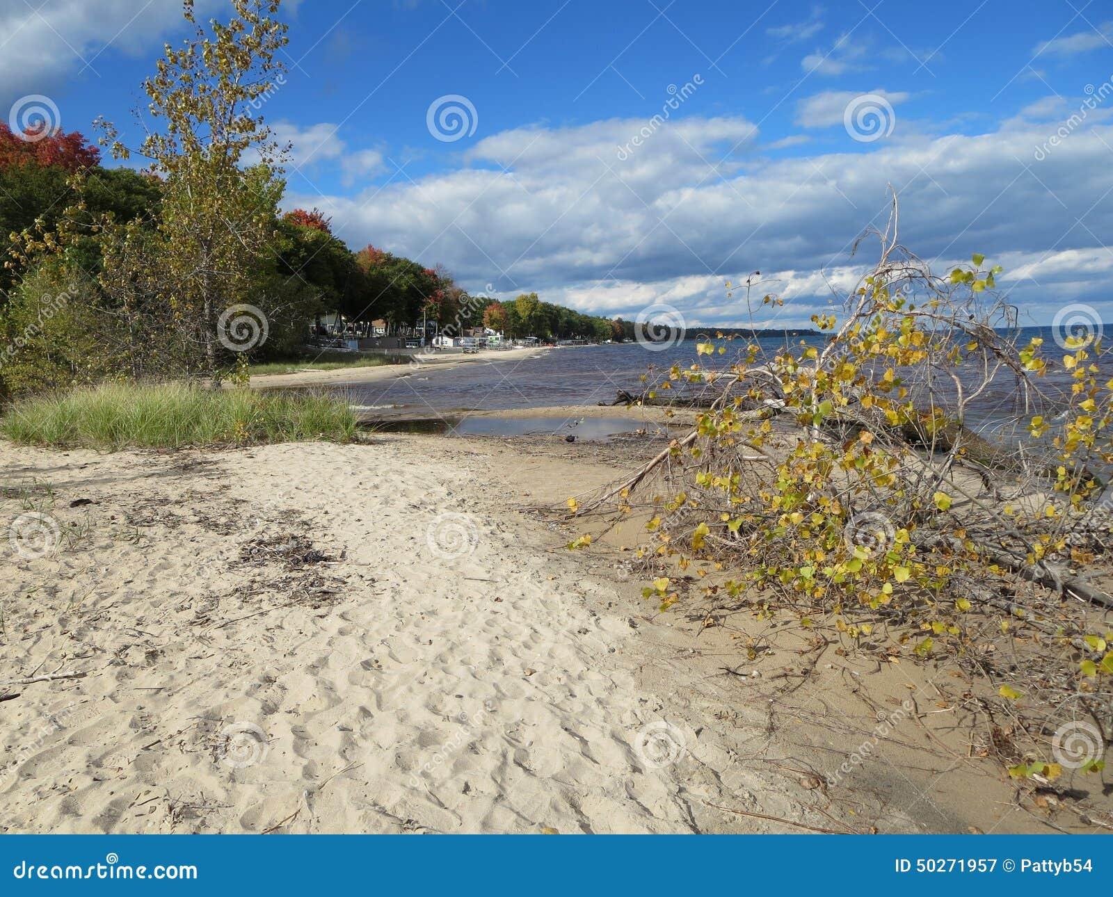 Línea de la playa del lago Hurón en la caída