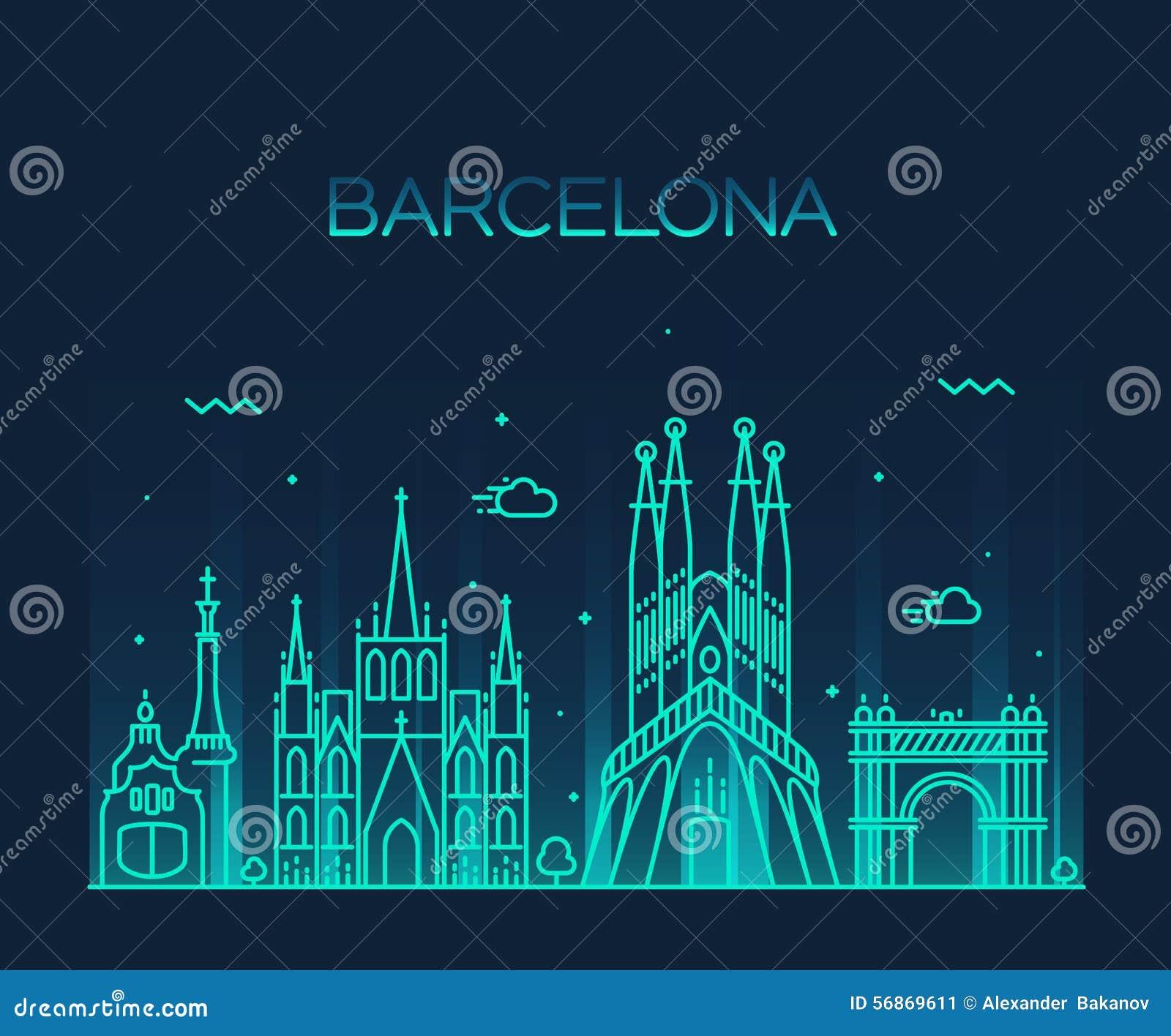 Línea de moda arte del vector del horizonte de la ciudad de Barcelona