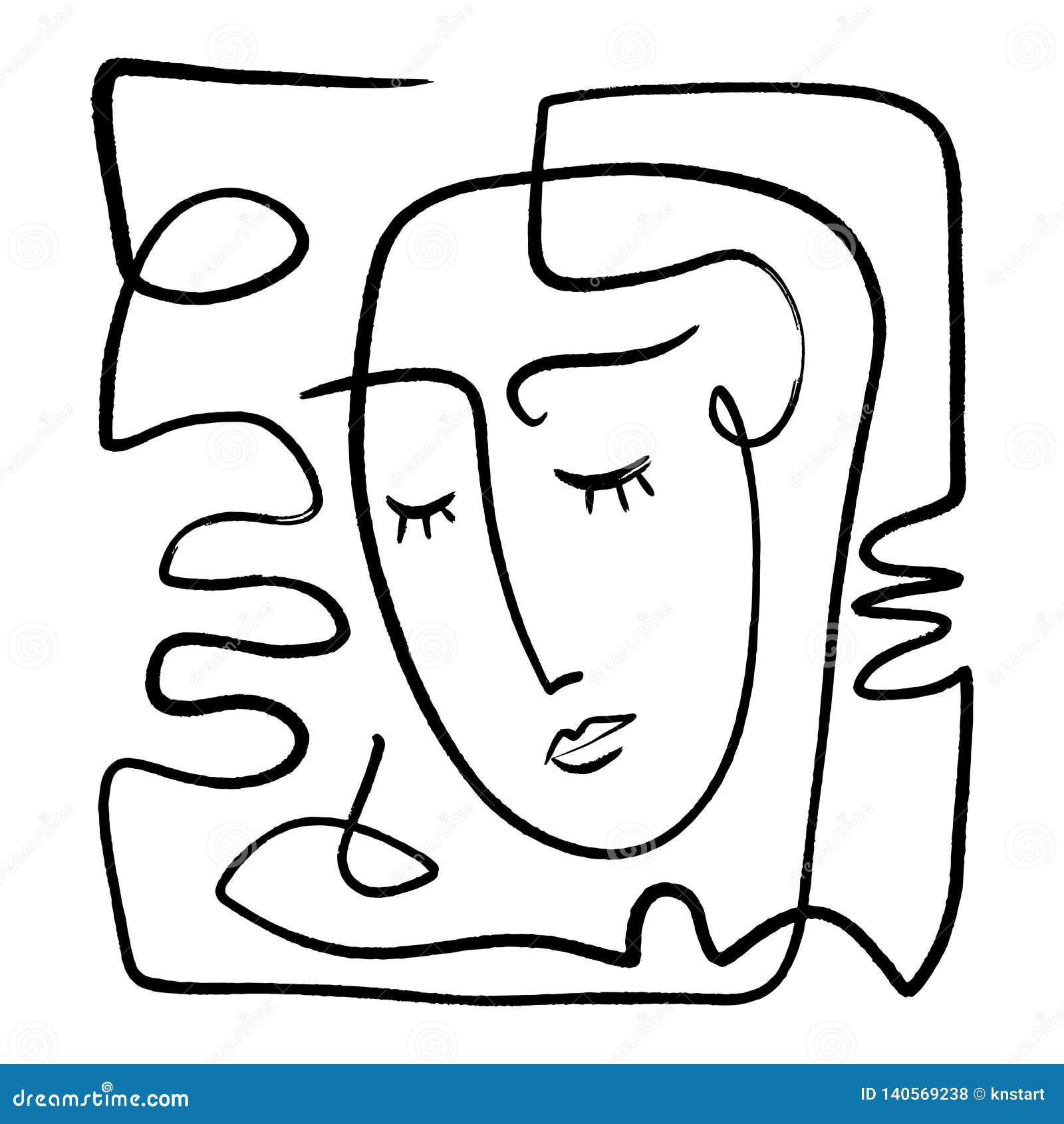 Línea de moda blanco y negro exhausta arte de la mano simple del retrato Composición abstracta