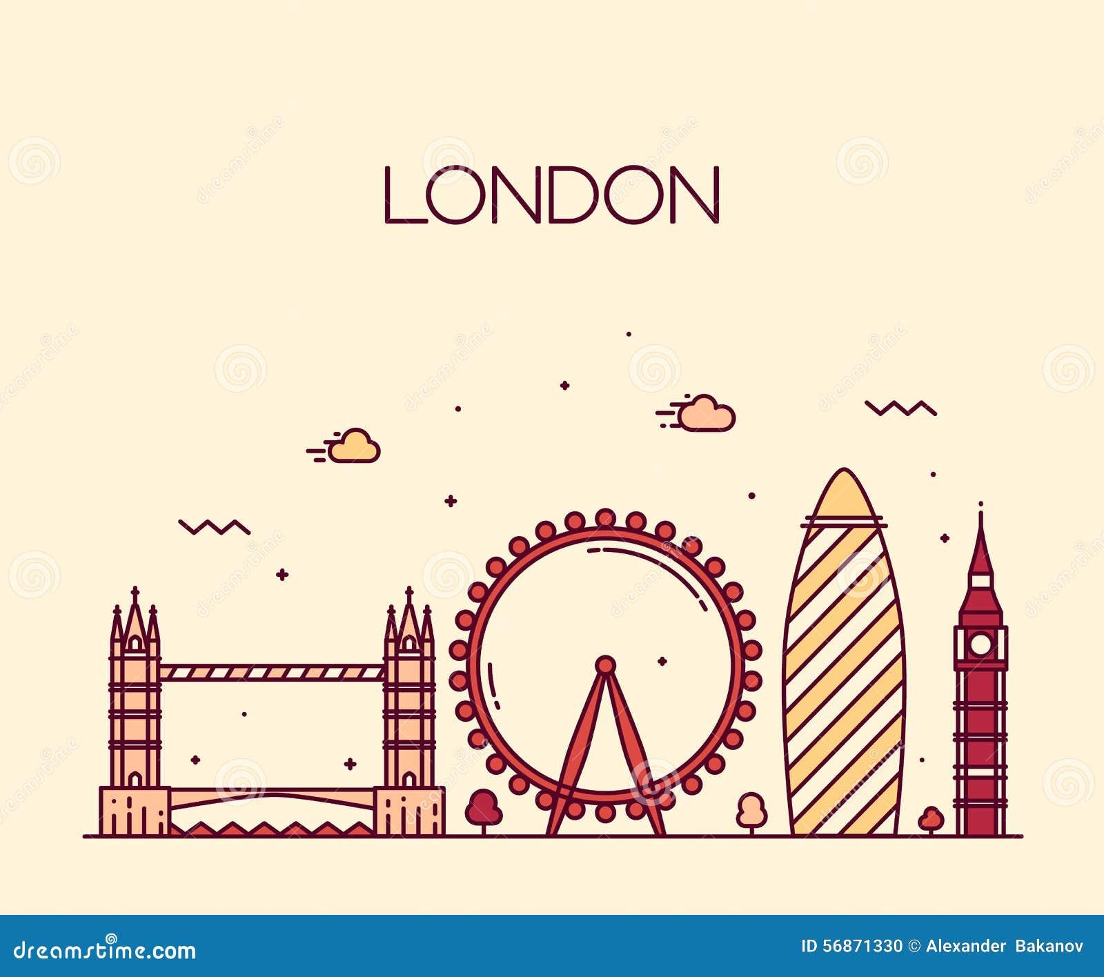 Línea de moda estilo del ejemplo de Londres Inglaterra del arte
