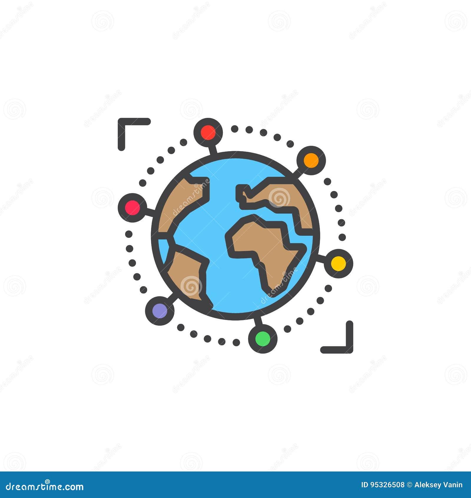Línea de negocio internacional, global icono, muestra llenada del vector del esquema, pictograma colorido linear aislado en blanc