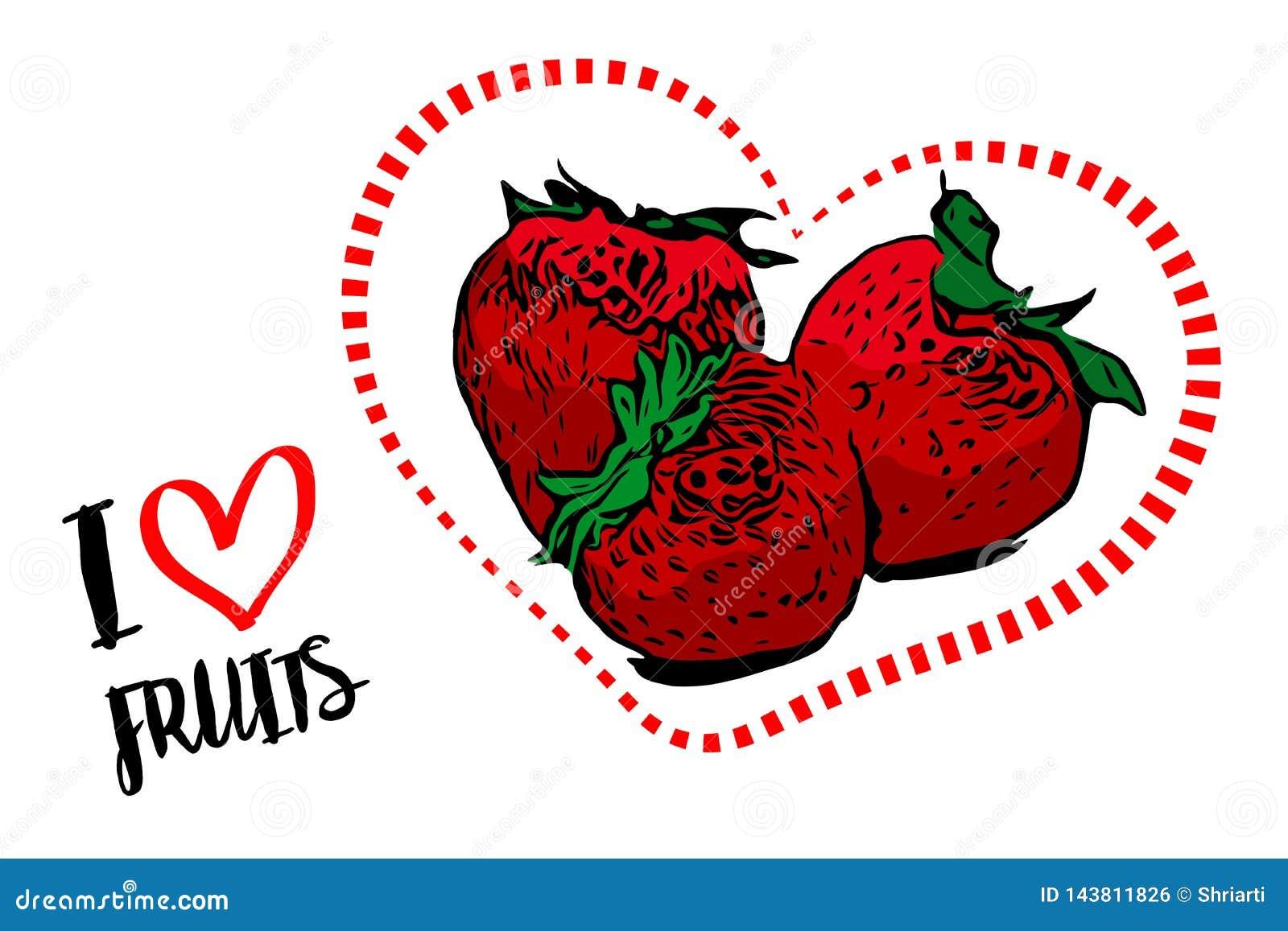 Línea de puntos forma roja del corazón con tres fresas rojas dentro