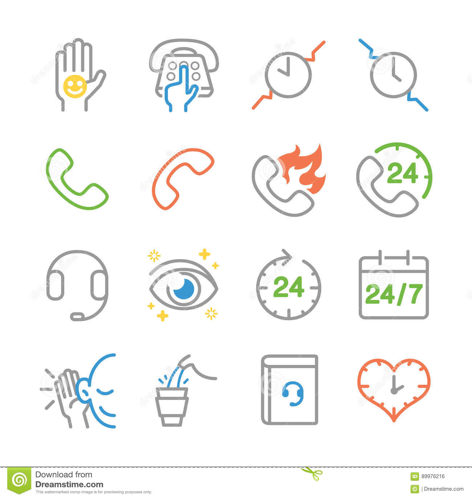 Línea de servicio de atención al cliente iconos