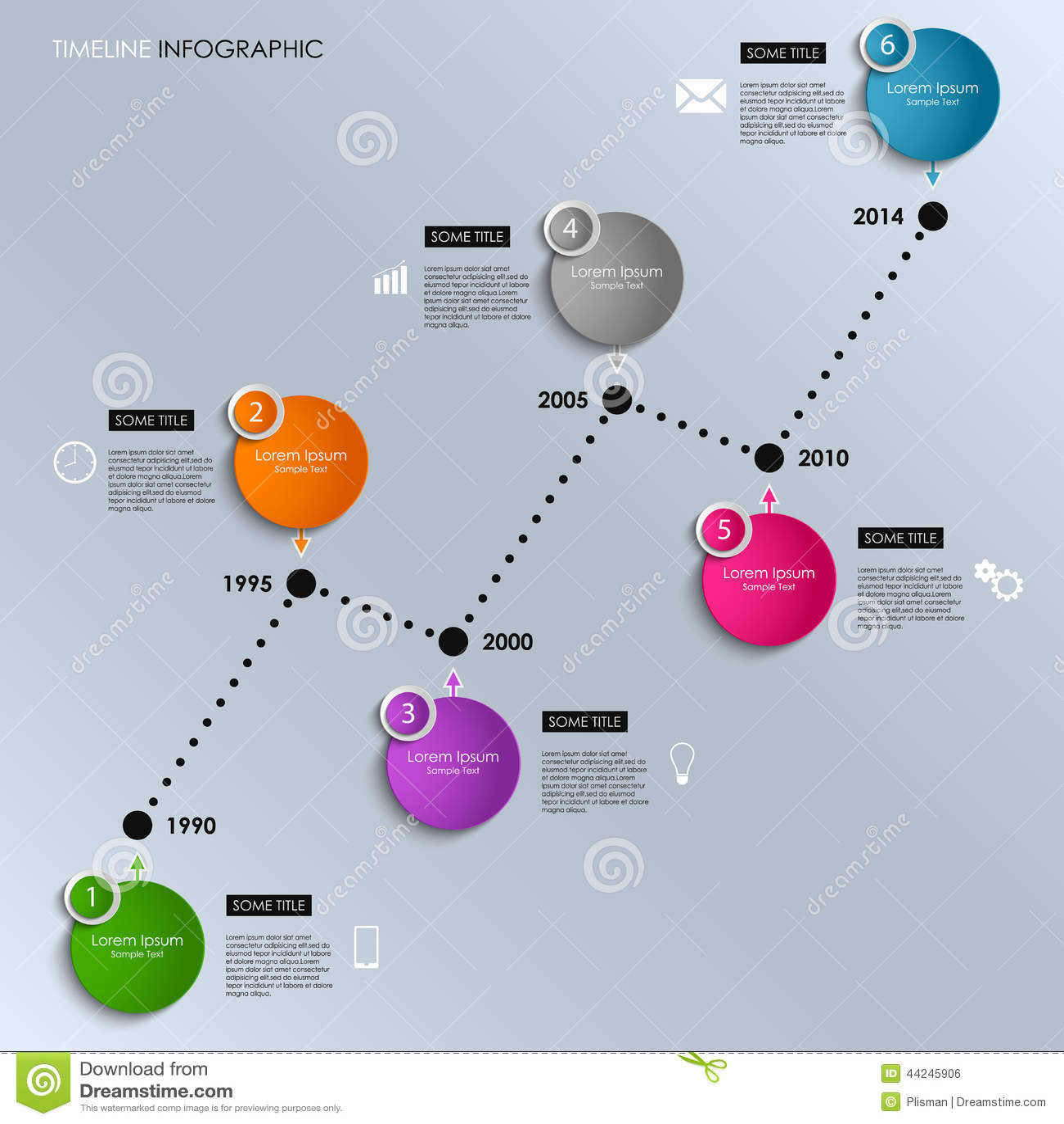 Línea De Tiempo Gráfico De La Información Coloreado Alrededor De ...