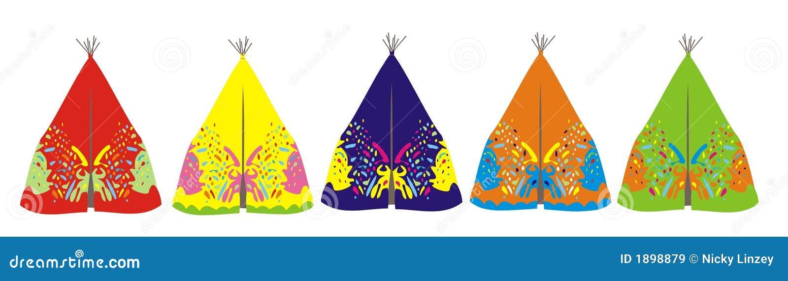 Línea de tienda de los indios norteamericanos