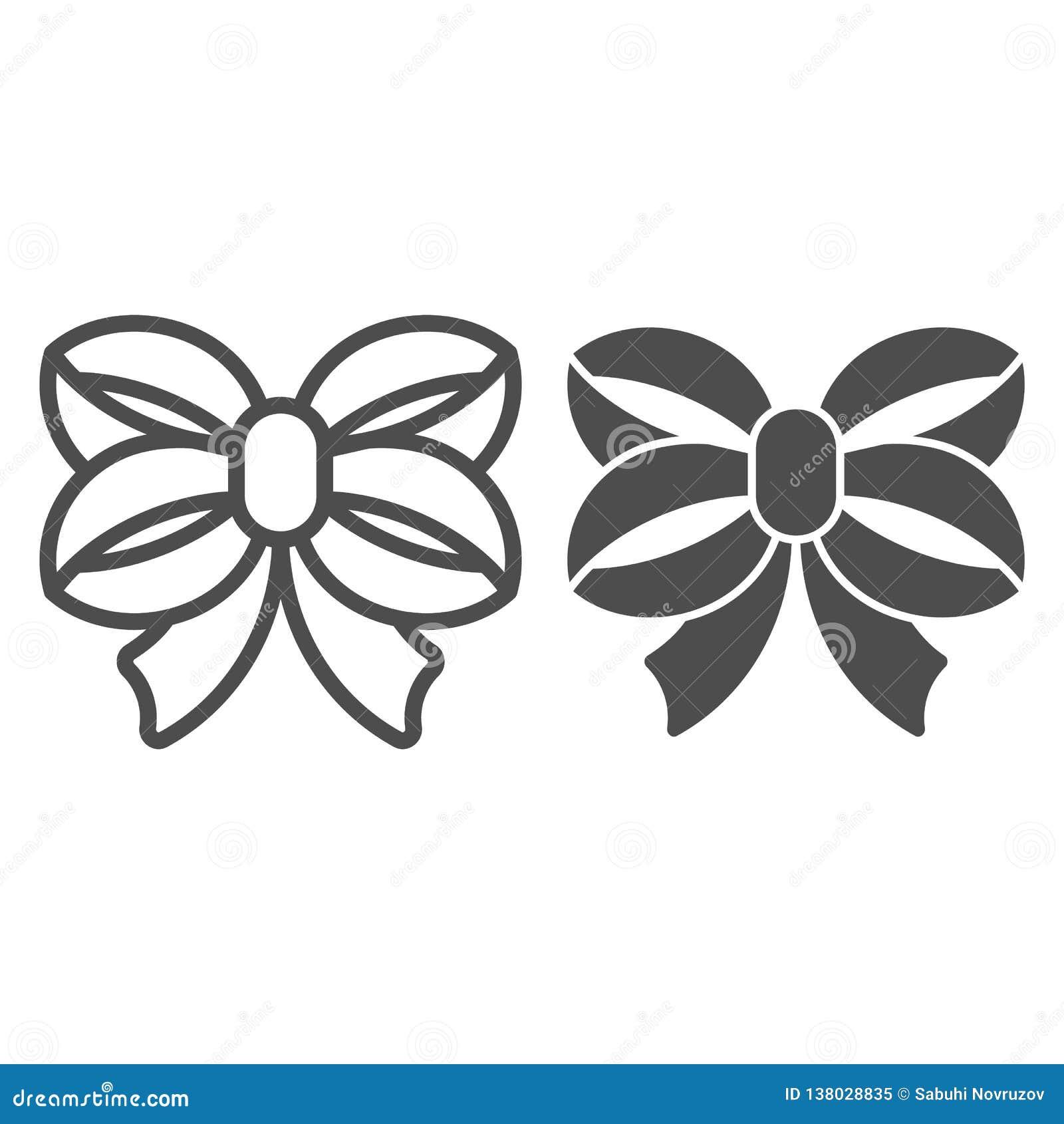 Línea del arco de la cinta e icono del glyph Ejemplo anudado doble del vector del arco aislado en blanco Diseño atado del estilo
