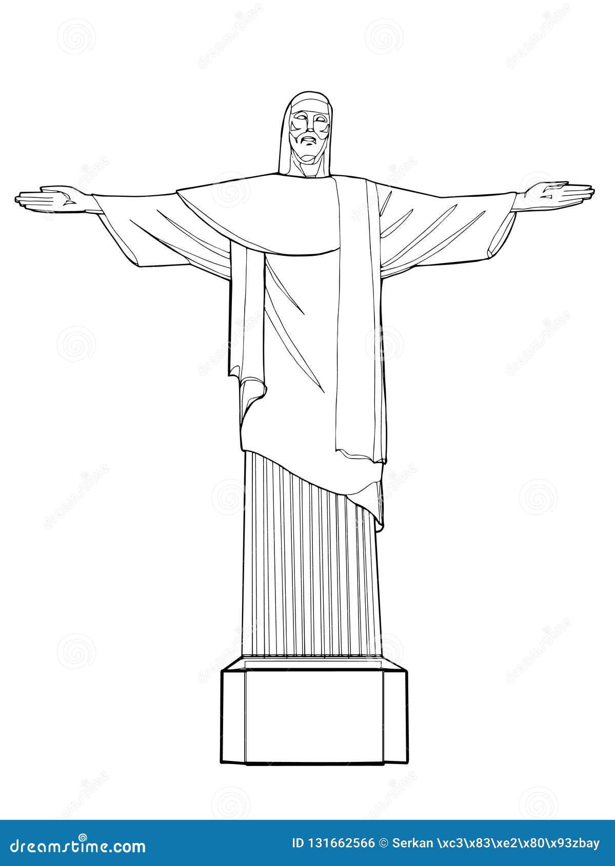 Línea Del Dibujo Del Icono De Río De Janeiro Cristo Y Fondo