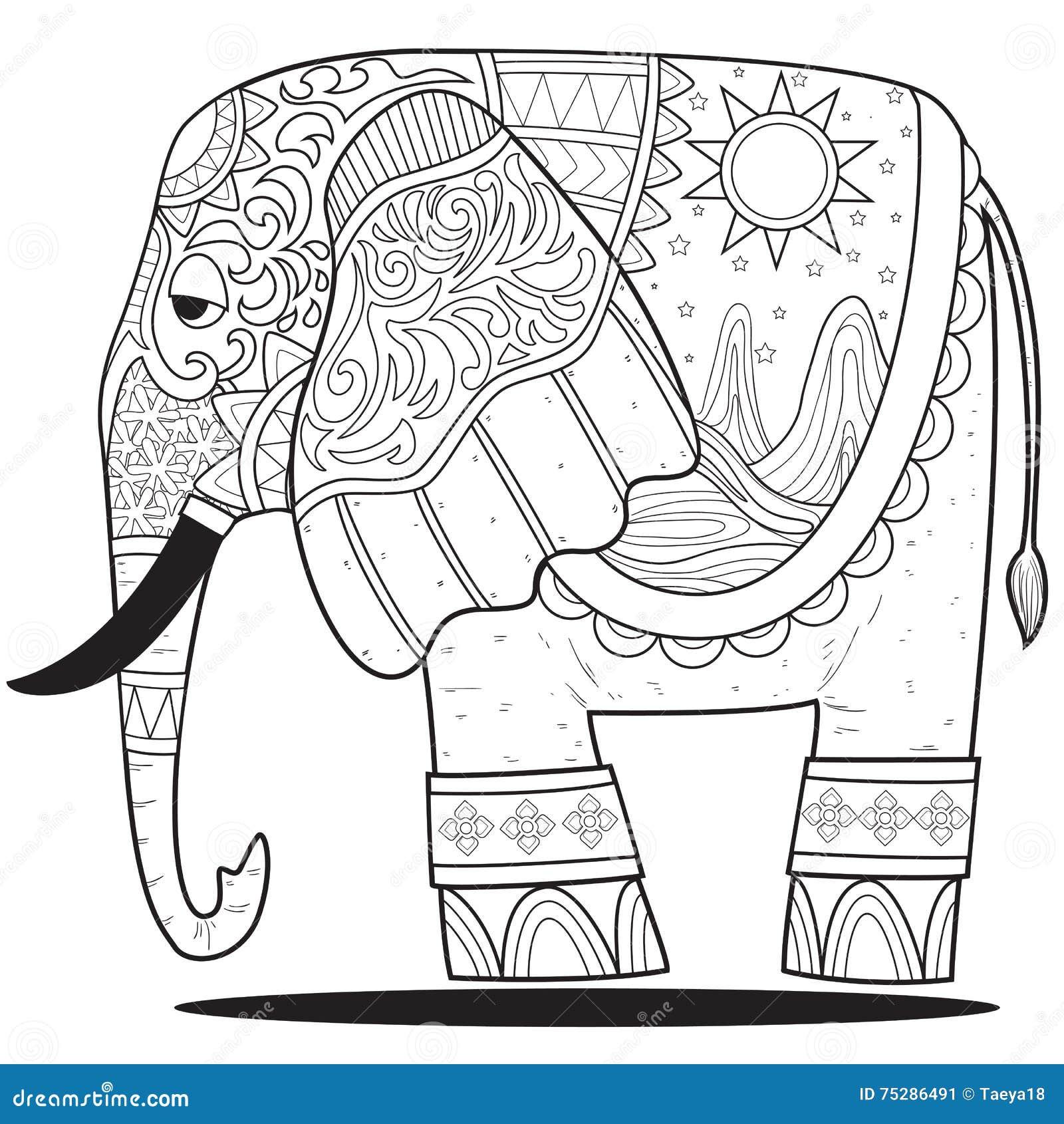 Línea Del Elefante Para Colorear Ilustración del Vector ...