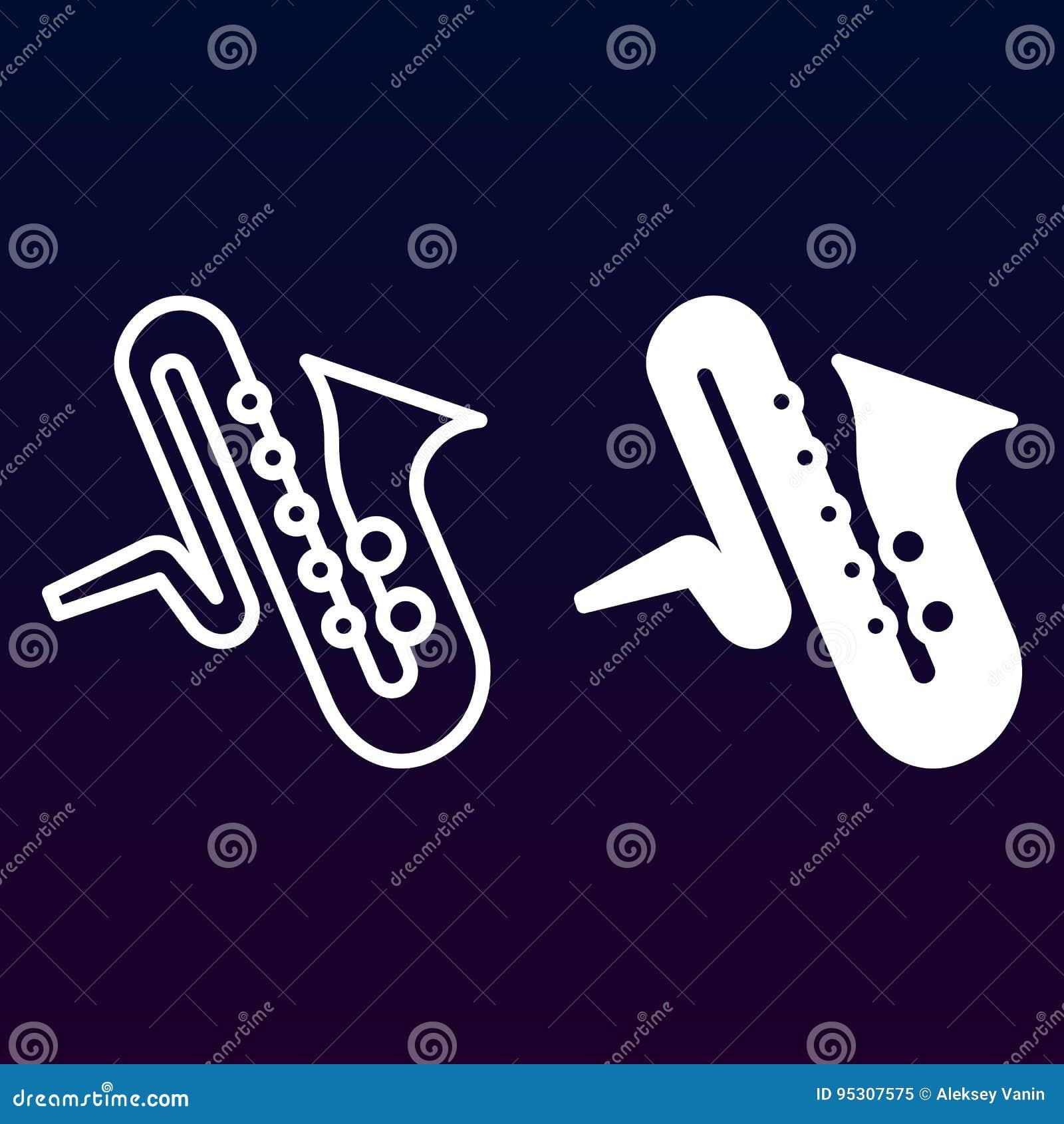 Línea del instrumento de música del saxofón e icono sólido, esquema y pictograma llenado de la muestra del vector, linear y lleno