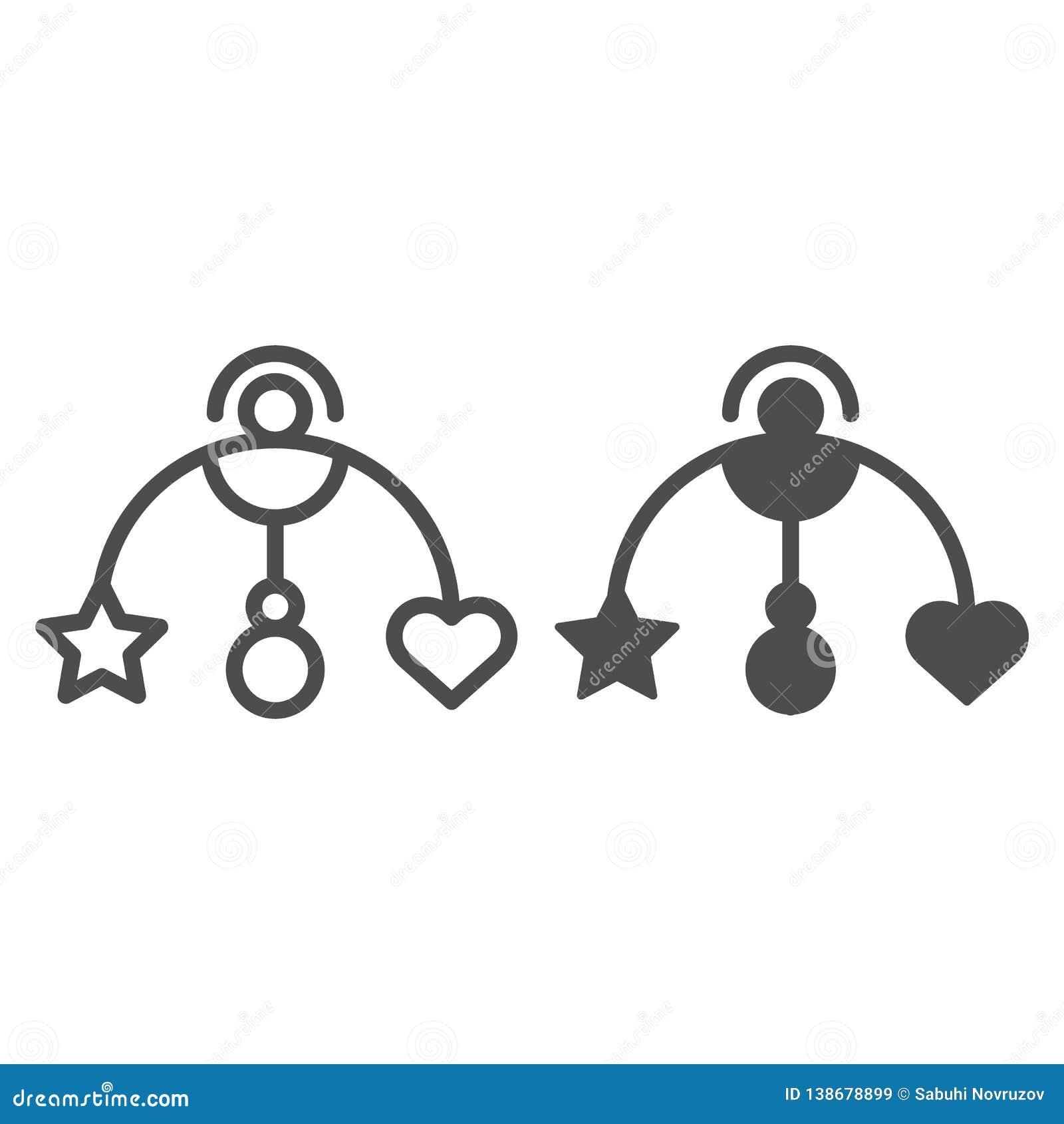 Línea del juguete de la ejecución del bebé e icono del glyph Ejemplo del vector del juguete del pesebre del bebé aislado en blanc