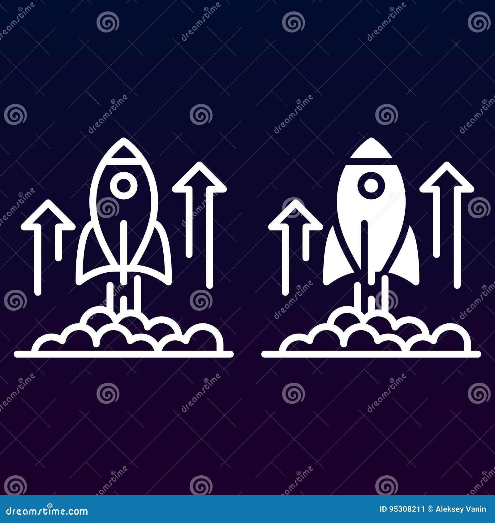 Línea del lanzamiento de Rocket e icono sólido, esquema y pictograma llenado de la muestra del vector, linear y lleno aislados en