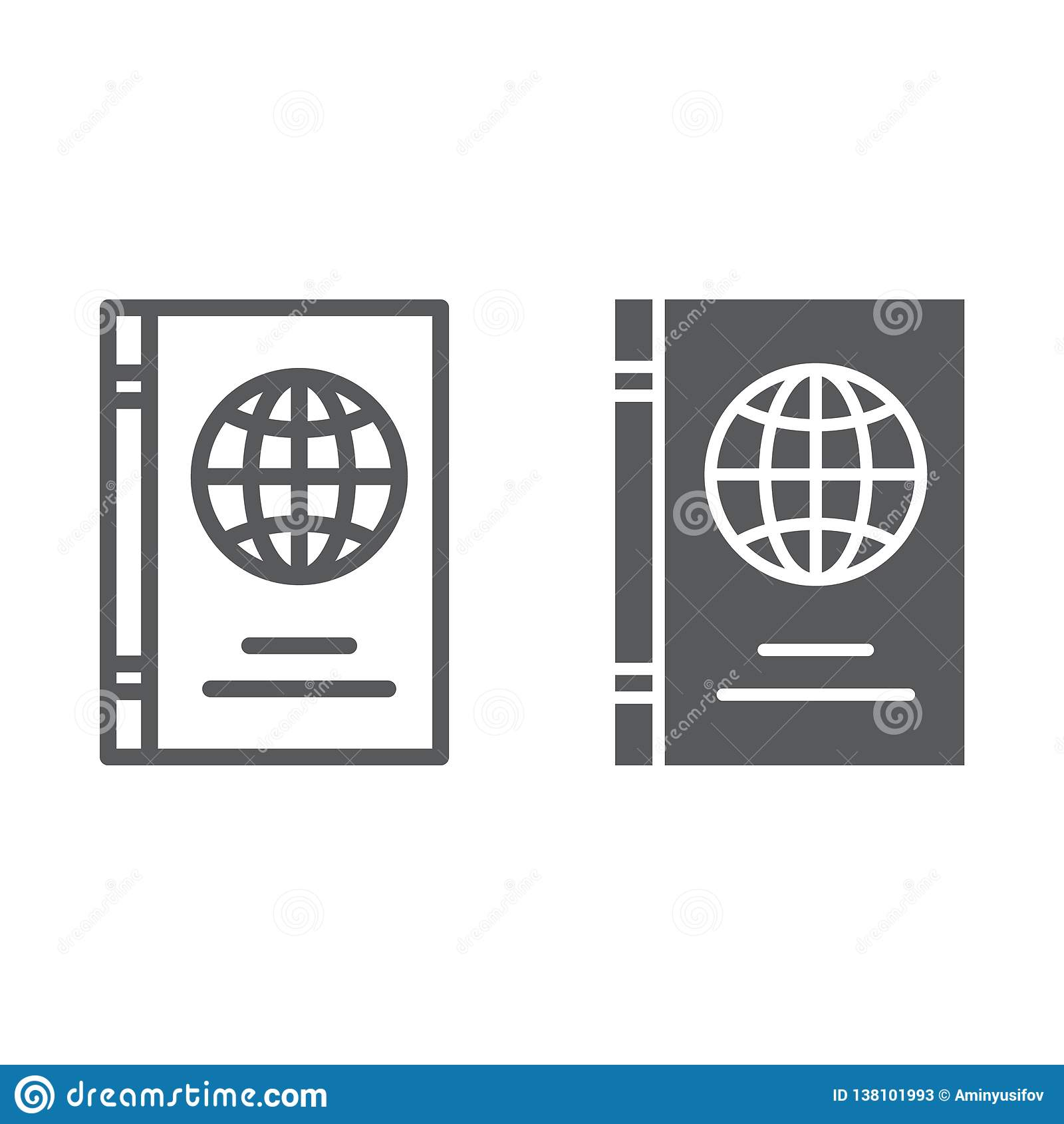 Línea del pasaporte e icono del glyph, identificación y viaje, muestra del documento de identidad, gráficos de vector, un modelo