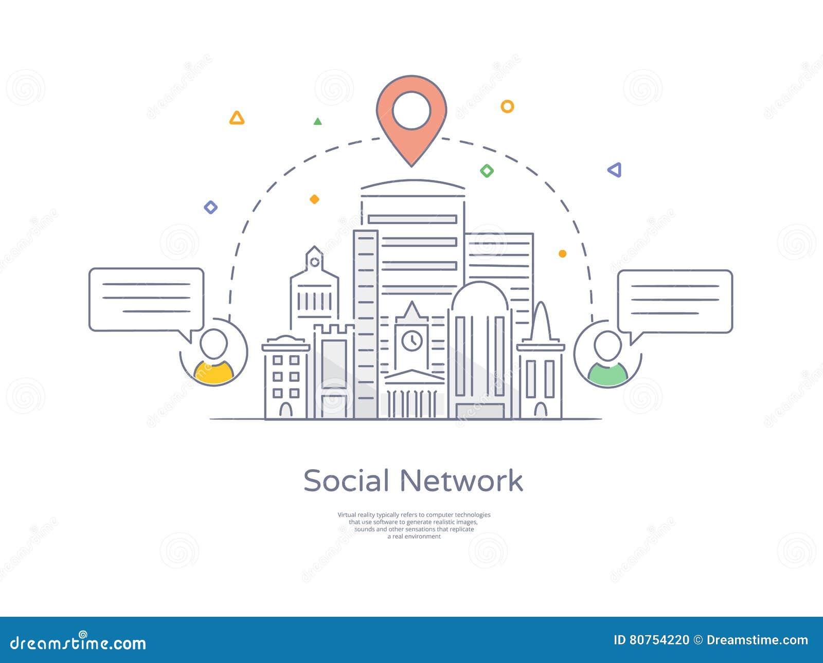 Línea dibujada mano superior icono y concepto de la calidad fijados: Red social de la ciudad, paisaje urbano, grupo de gente de c