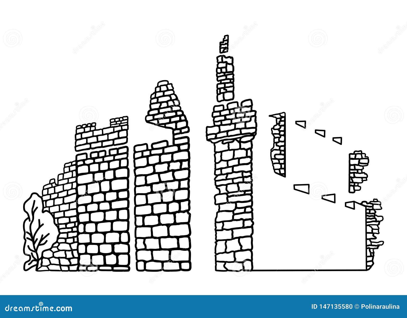 Línea Dibujo De La Pared De Jerusalén Del Vector Del Arte