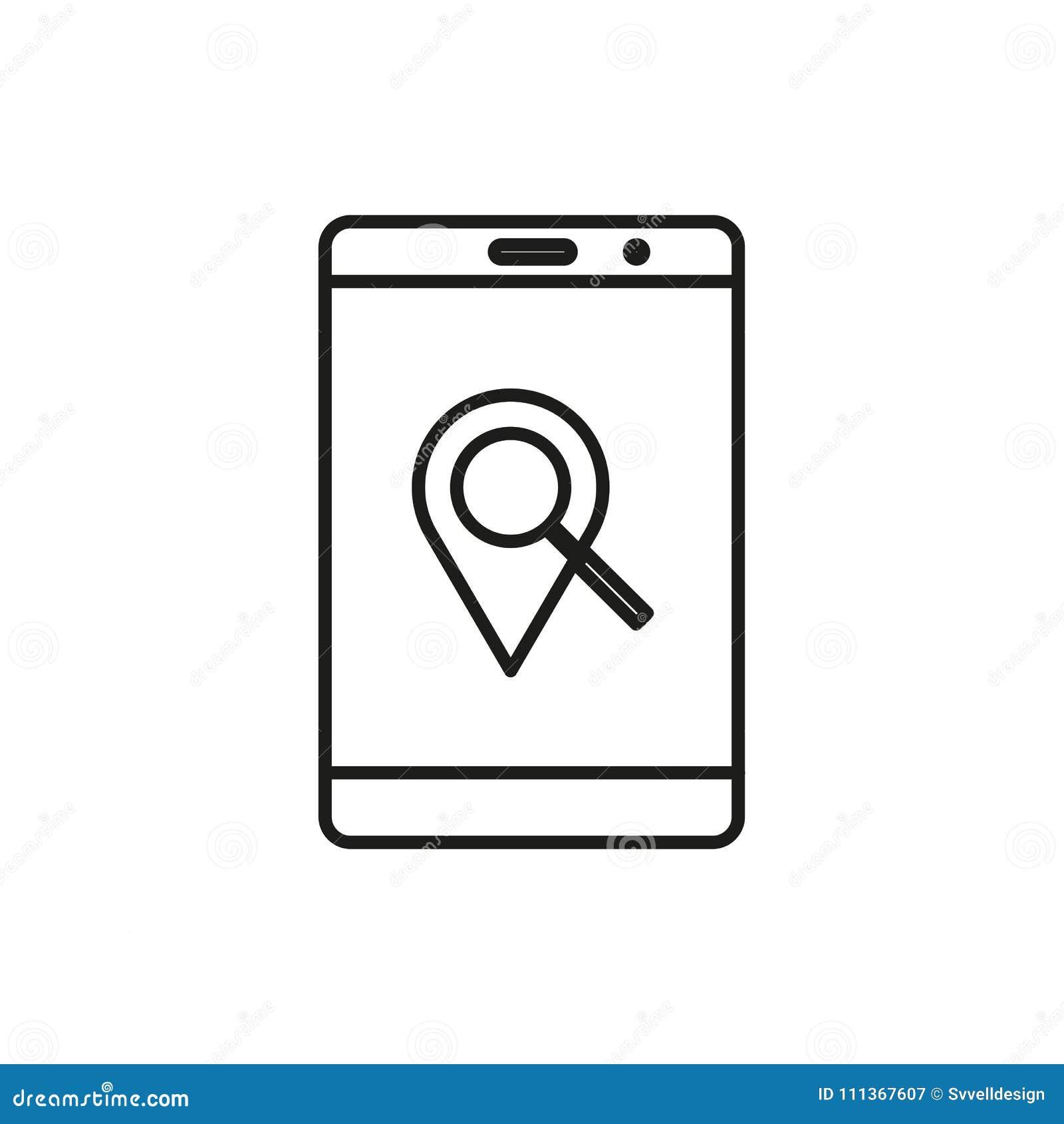 Línea diseño de Pin Mobile Device Adventure Thin de la ubicación del símbolo del icono